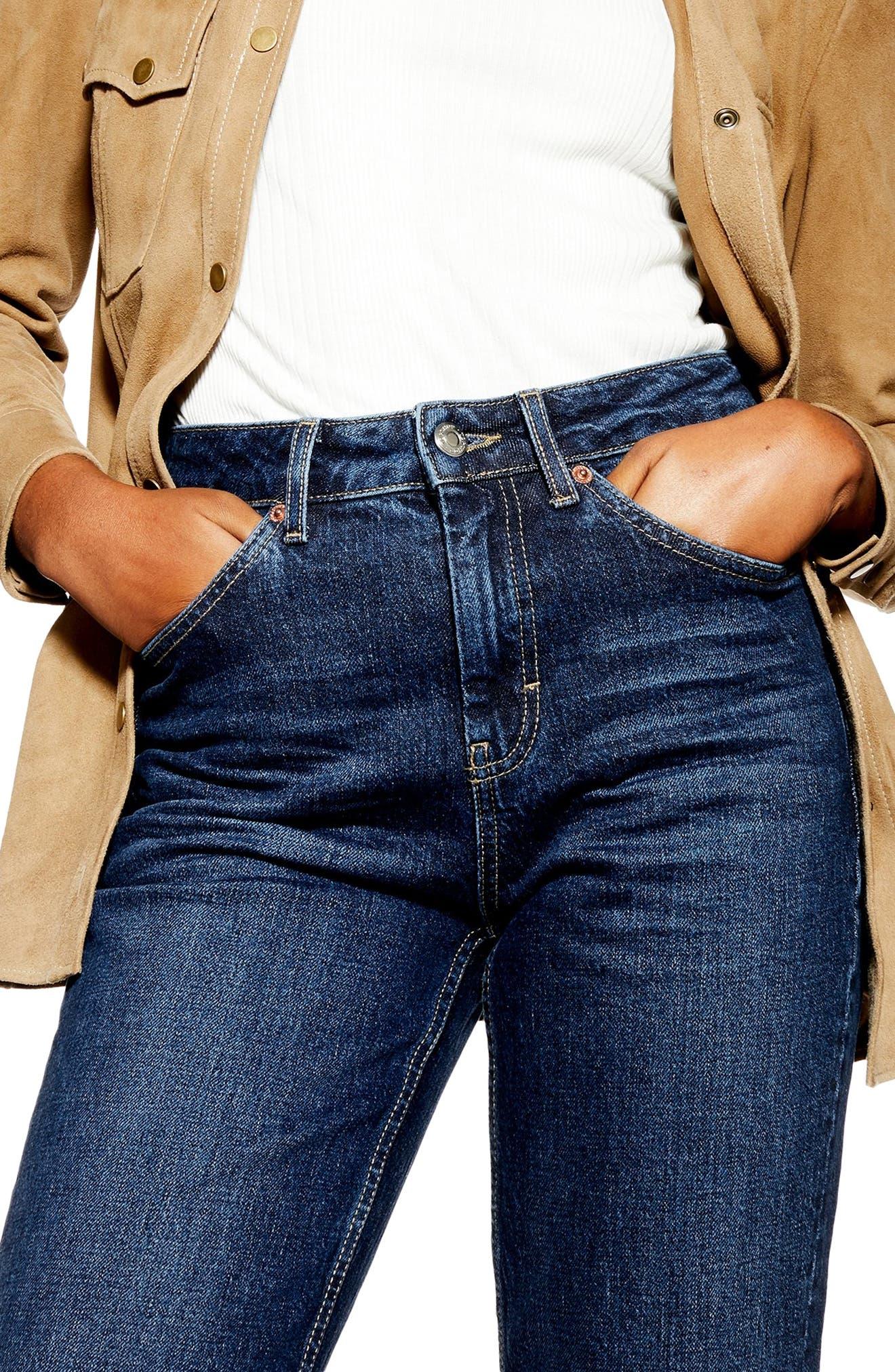 TOPSHOP, Raw Hem Straight Leg Jeans, Alternate thumbnail 3, color, INDIGO