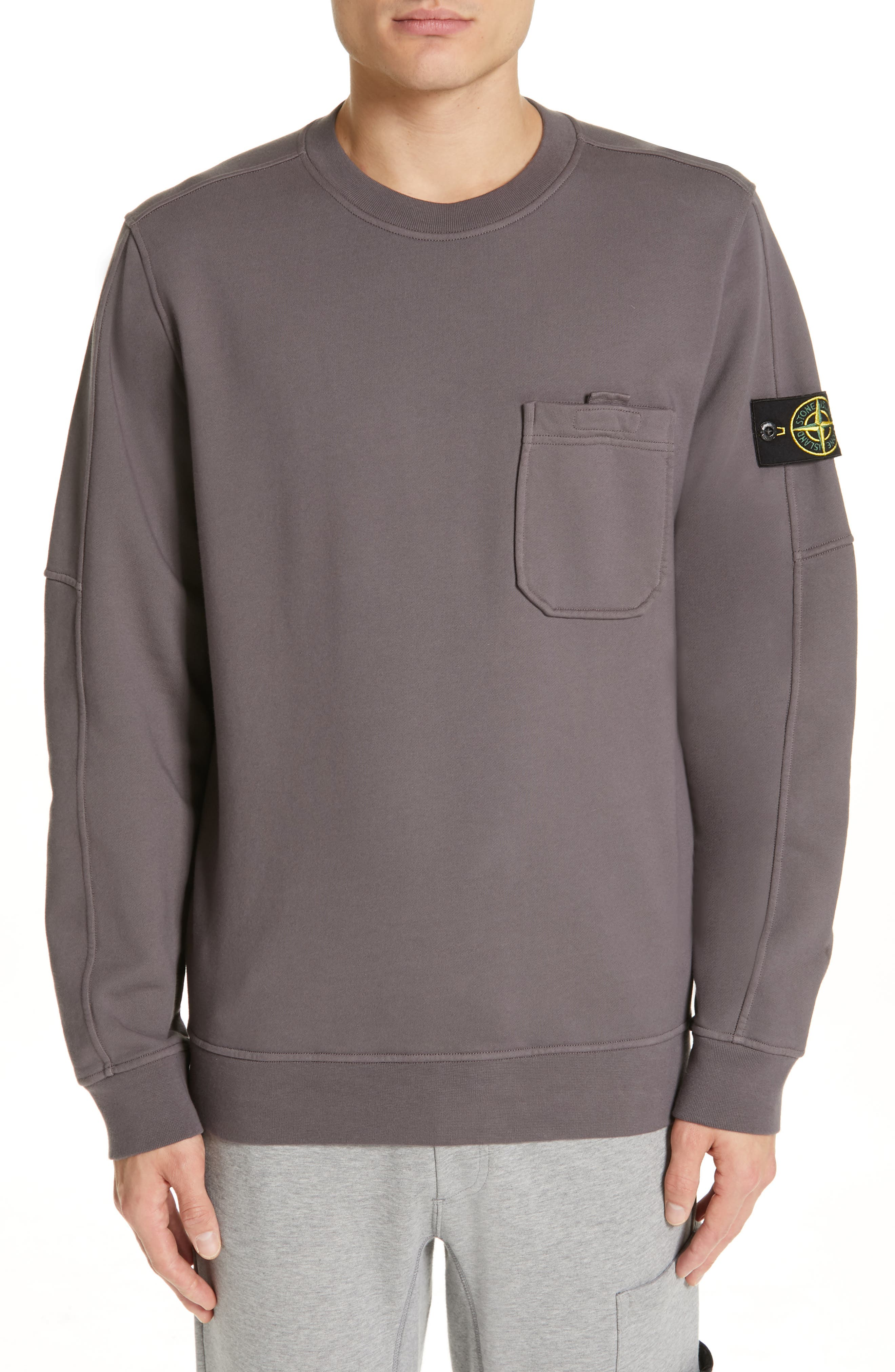 STONE ISLAND, Pocket Sweatshirt, Main thumbnail 1, color, BLUE