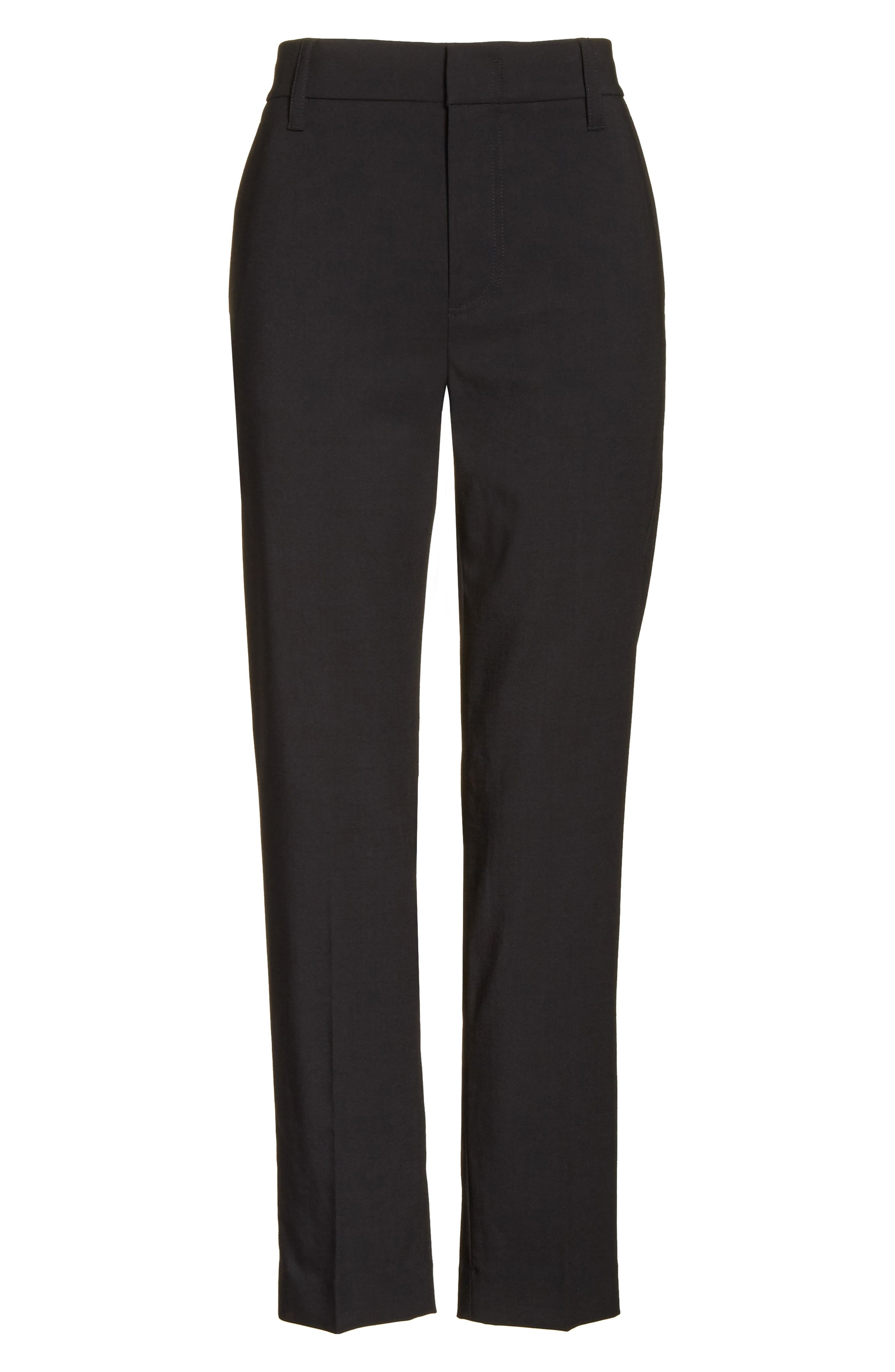 VINCE, Tapered Ankle Trousers, Alternate thumbnail 7, color, BLACK