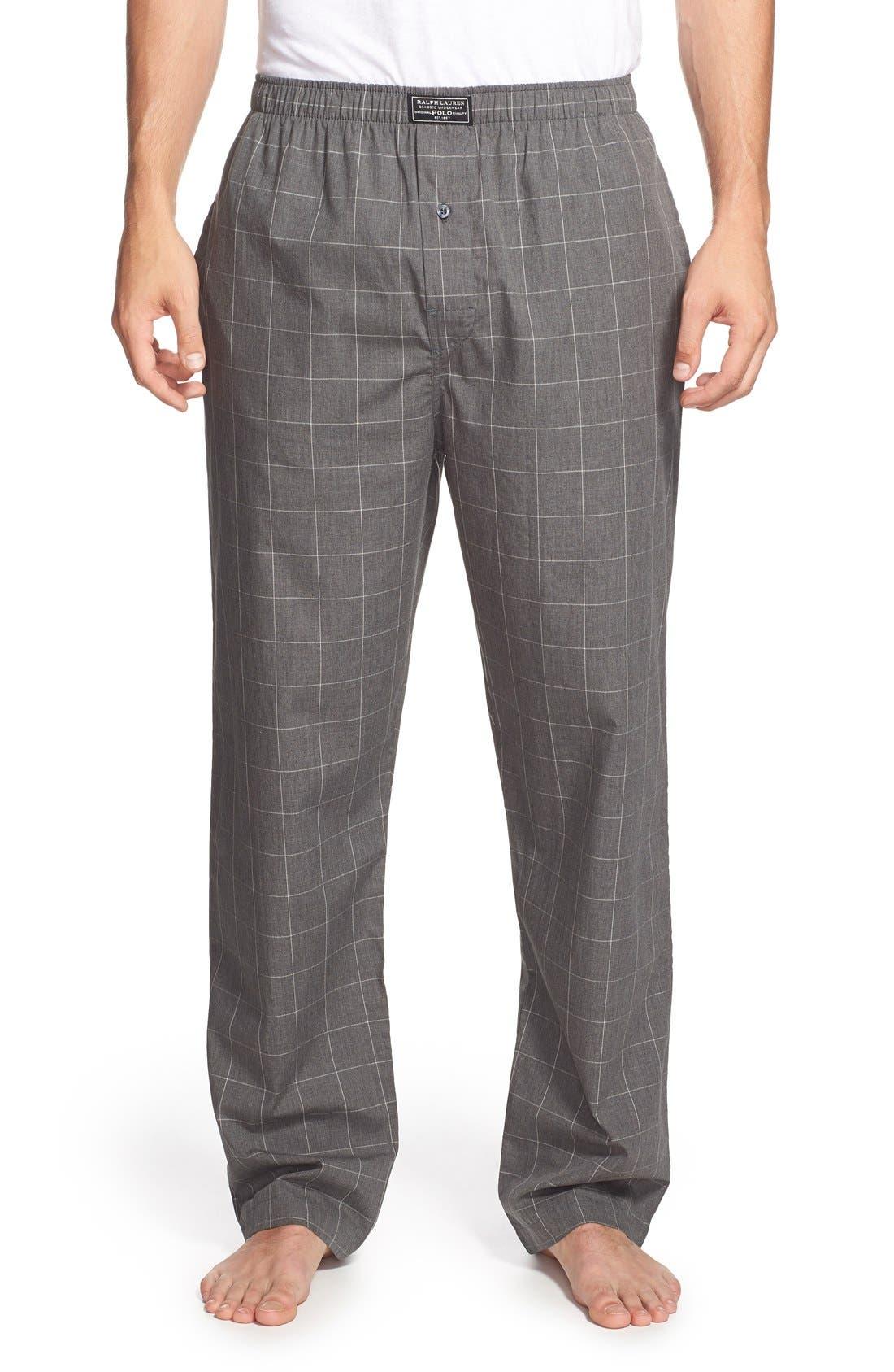 POLO RALPH LAUREN, Cotton Pajama Pants, Main thumbnail 1, color, CHARCOAL