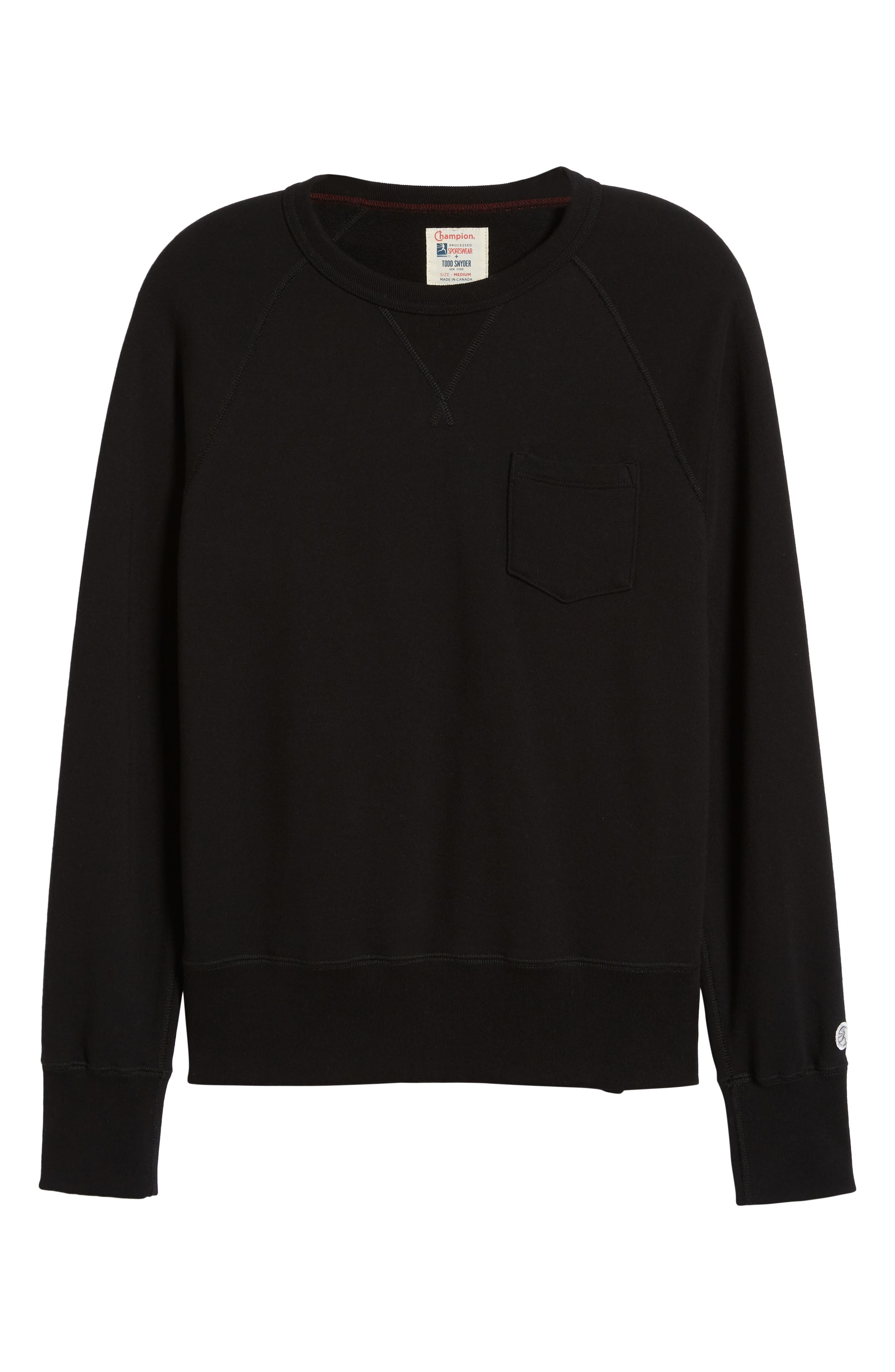 TODD SNYDER + CHAMPION, Todd Snyder Classic Pocket Sweatshirt, Alternate thumbnail 6, color, BLACK