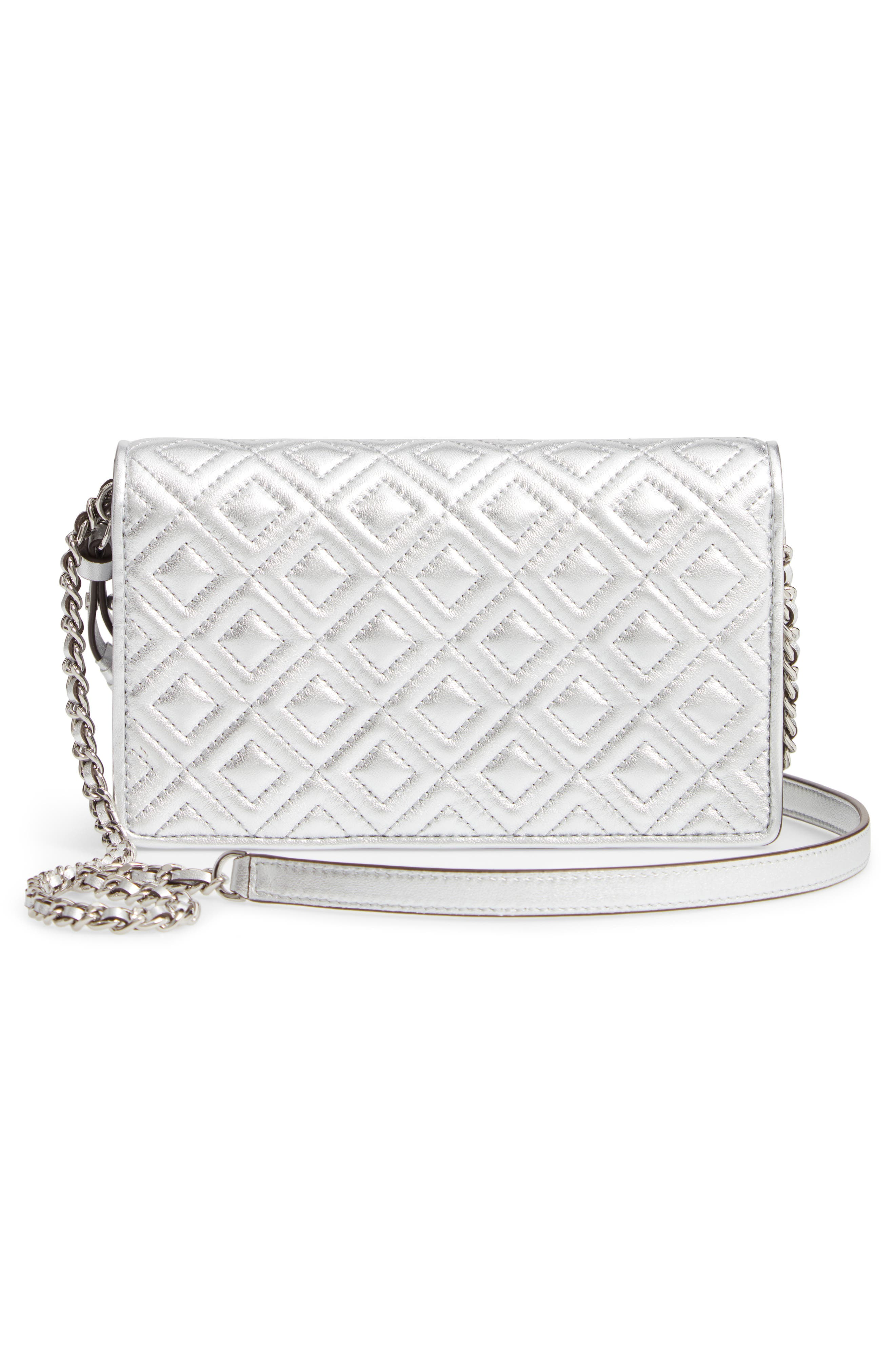 TORY BURCH, Fleming Quilted Metallic Leather Continental Wallet, Alternate thumbnail 3, color, 040