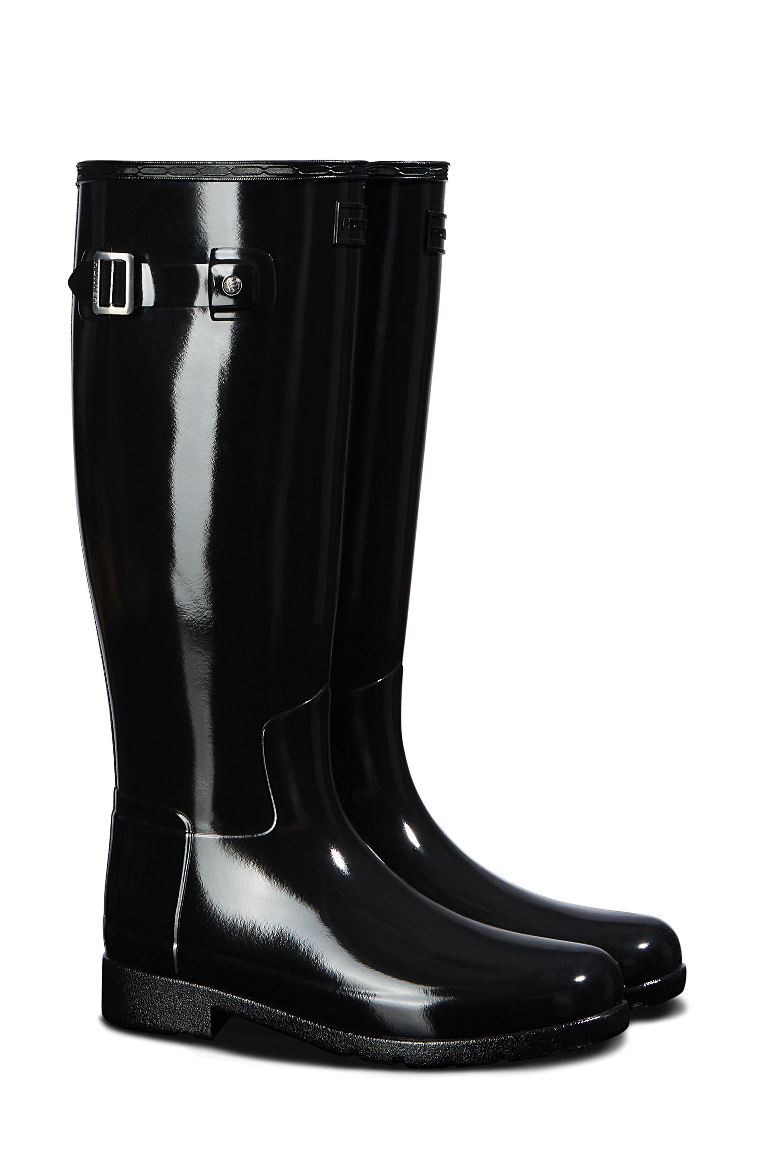 HUNTER, Original Refined Gloss Tall Waterproof Rain Boot, Main thumbnail 1, color, BLACK