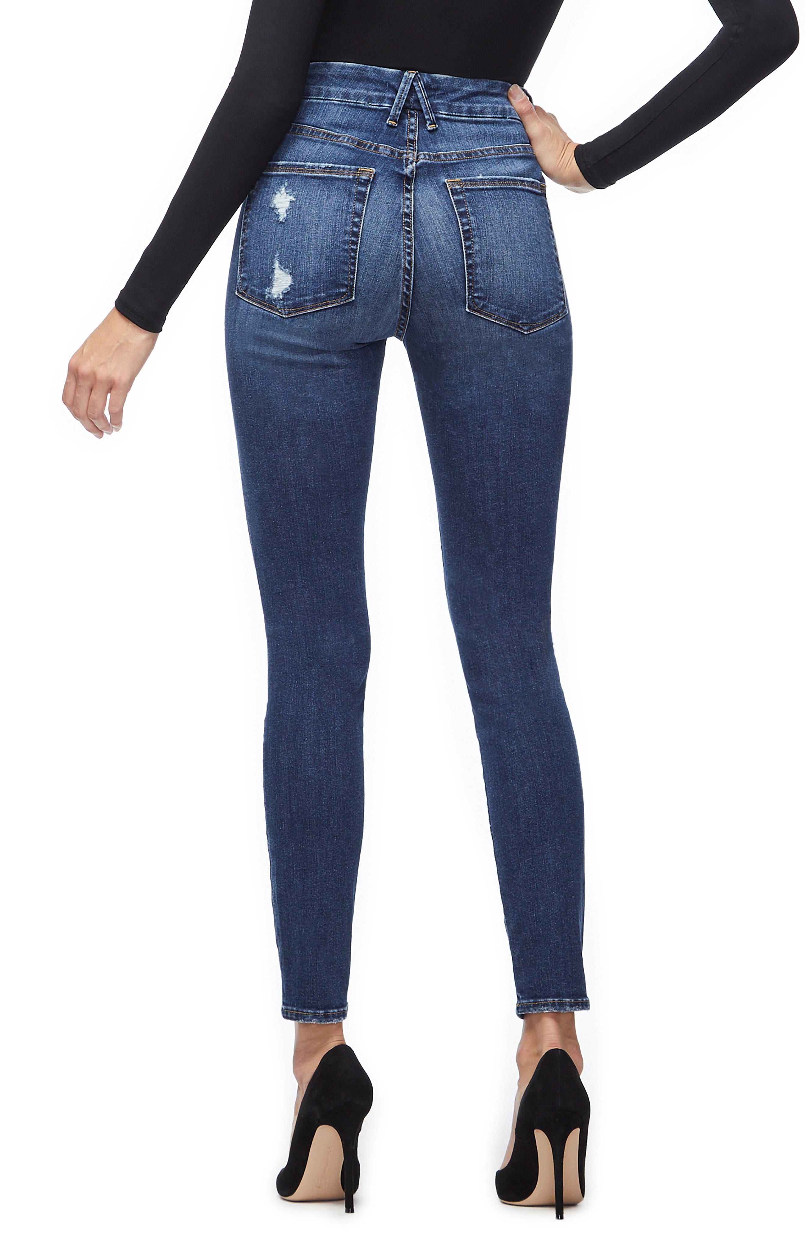 GOOD AMERICAN, Good Legs Cheetah Pockets High Waist Jeans, Alternate thumbnail 4, color, BLUE203