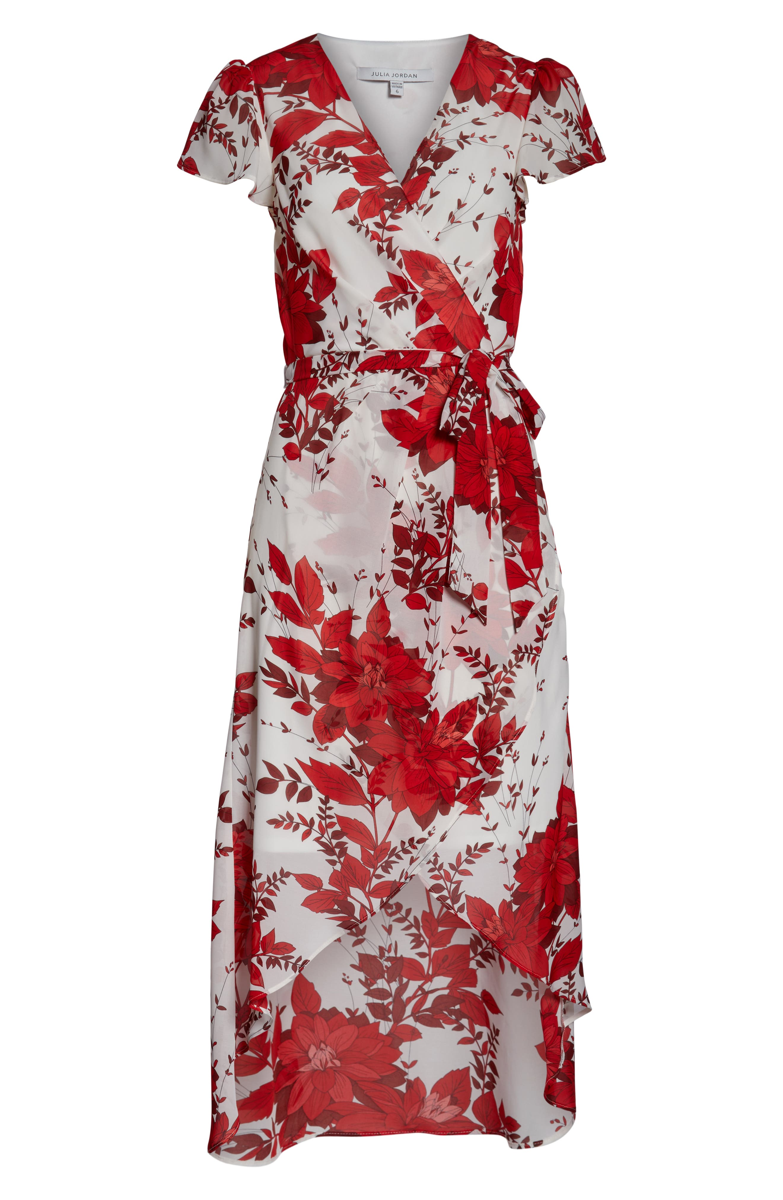 JULIA JORDAN, High/Low Floral Wrap Dress, Alternate thumbnail 7, color, IVORY/ RED