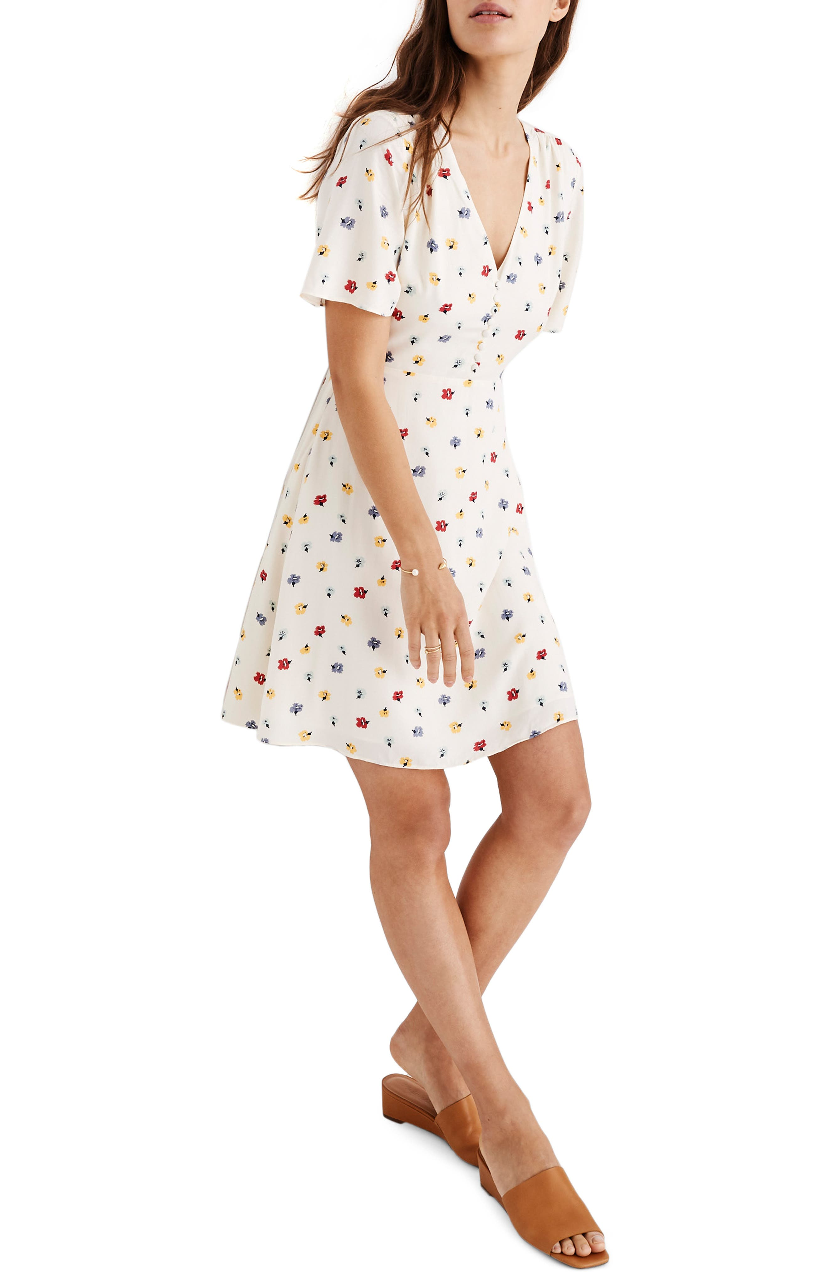 MADEWELL, Orchard Confetti Floral Flutter Sleeve Dress, Main thumbnail 1, color, 900