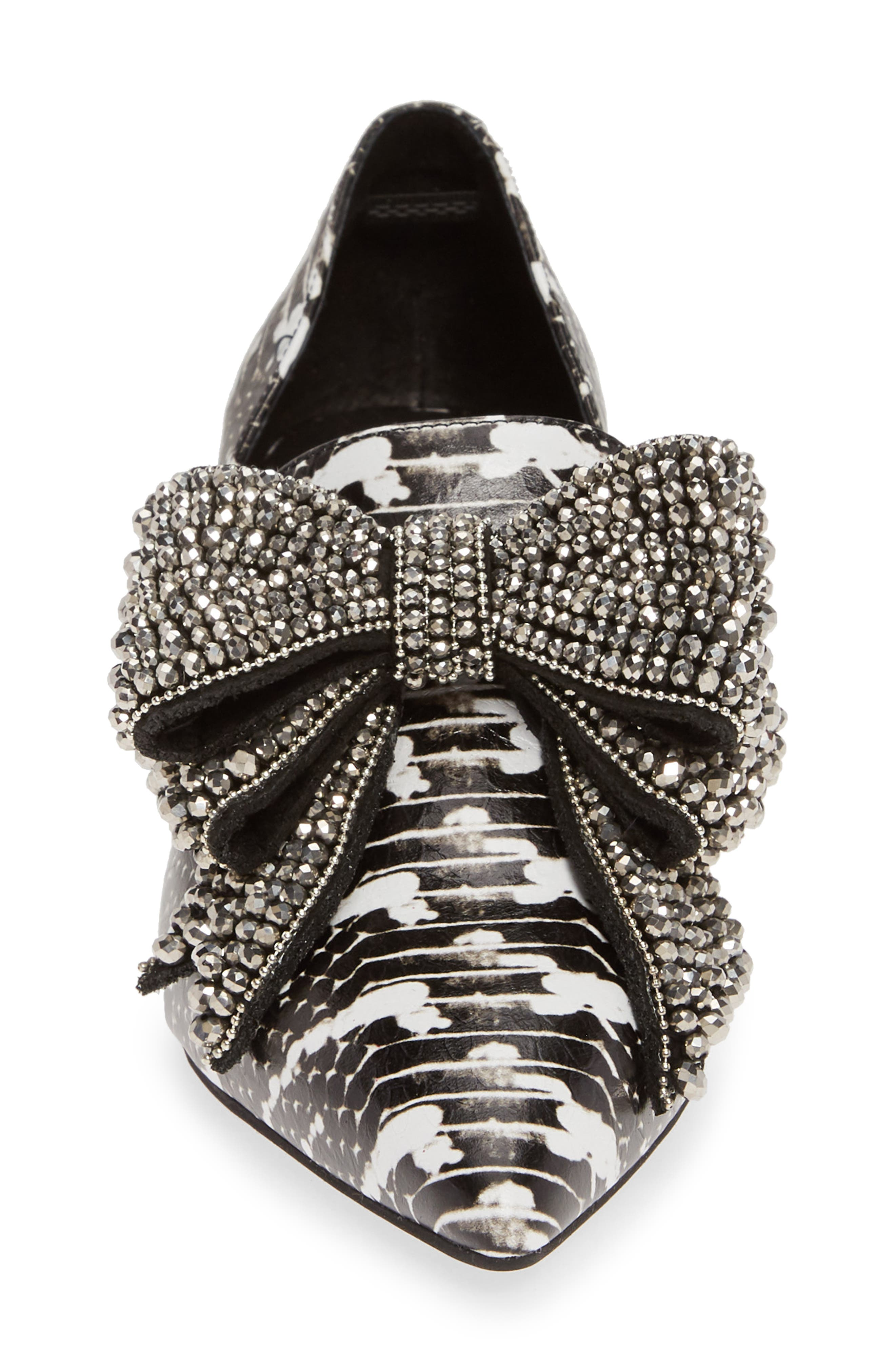 JEFFREY CAMPBELL, Valenti Embellished Bow Loafer, Alternate thumbnail 4, color, BLACK/WHITE/PEWTER