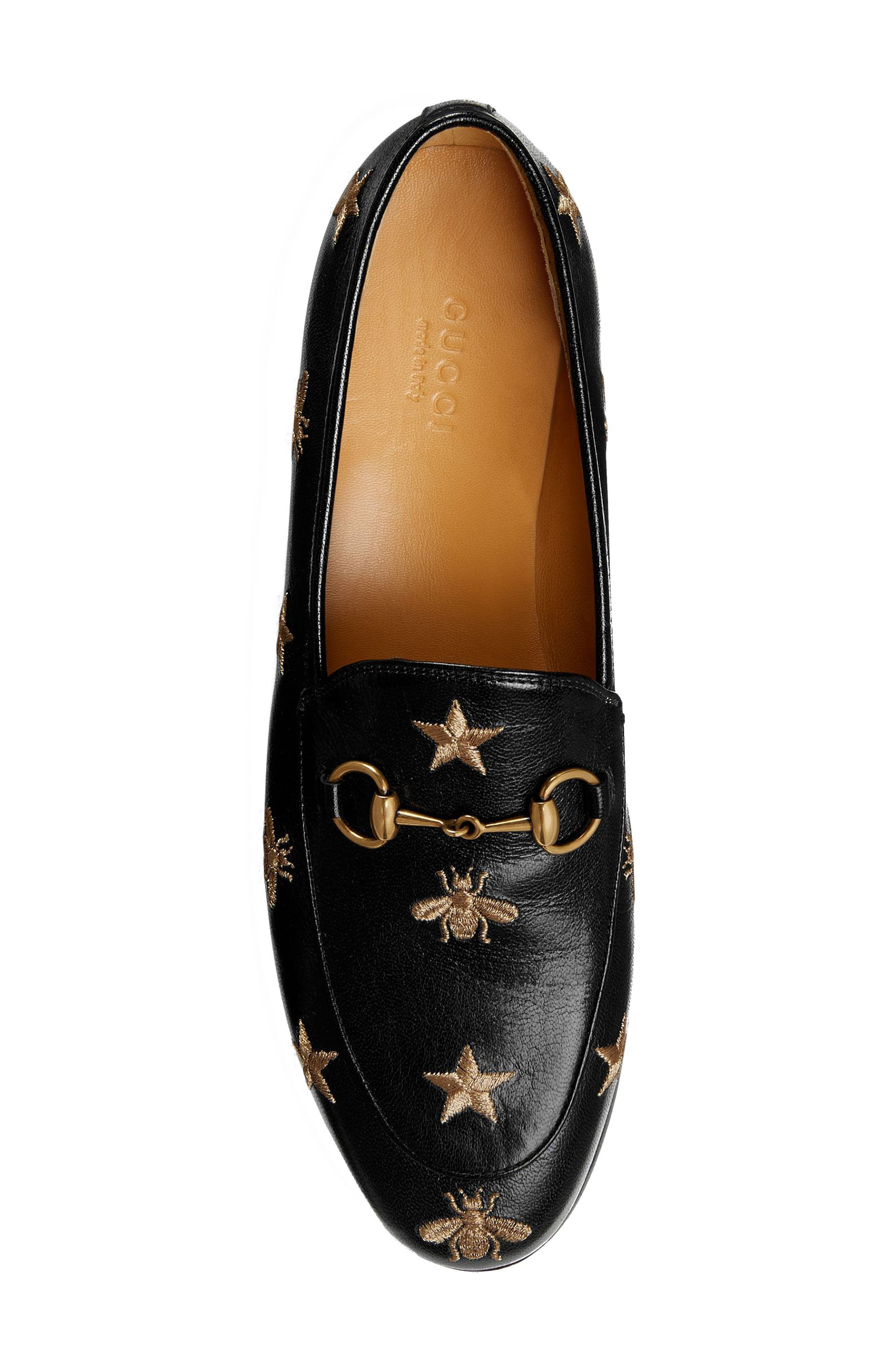 GUCCI, Jordaan Embroidered Bee Loafer, Alternate thumbnail 3, color, BLACK