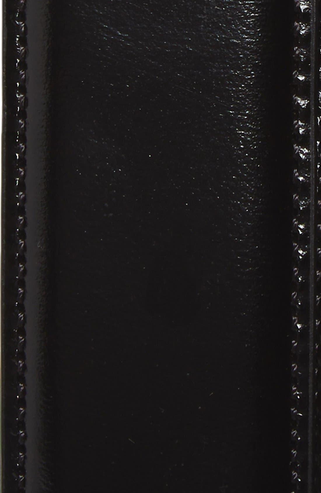 JOHNSTON & MURPHY, Calfskin Belt, Alternate thumbnail 2, color, BLACK