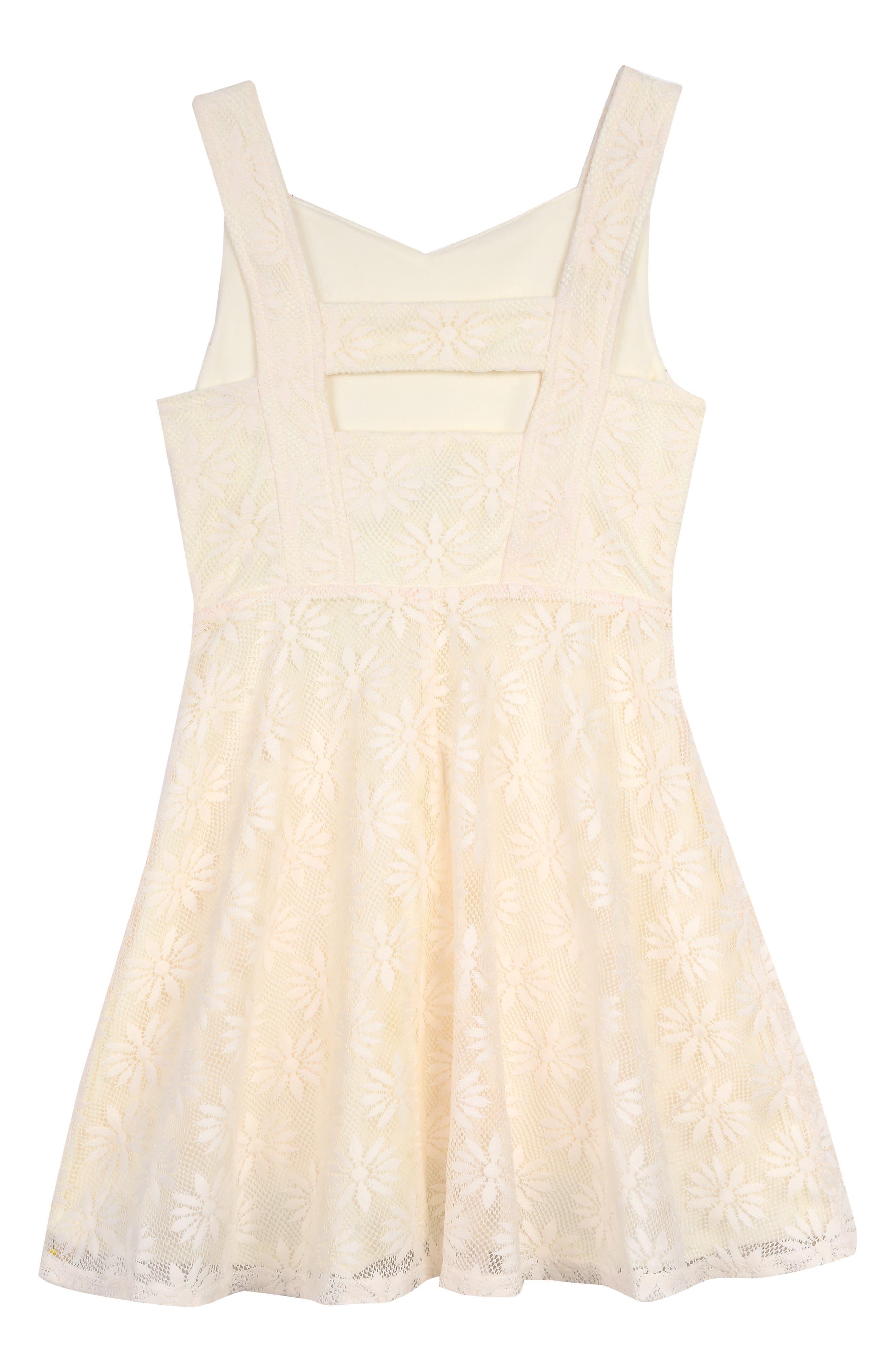 PIPPA & JULIE, Daisy Mesh Dress, Alternate thumbnail 2, color, YELLOW