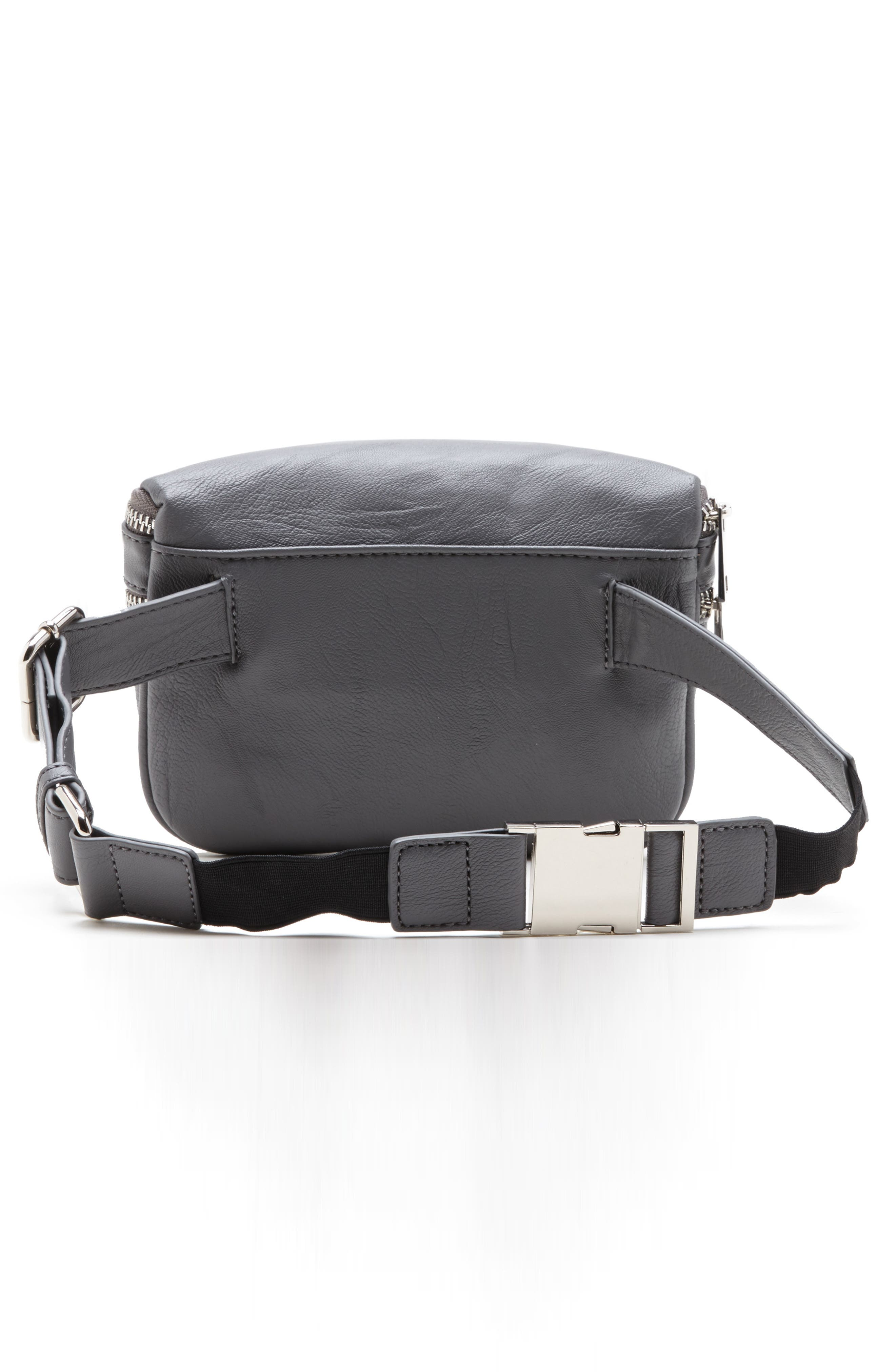 SOLE SOCIETY, Cadee Faux Leather Belt Bag, Alternate thumbnail 2, color, CHARCOAL