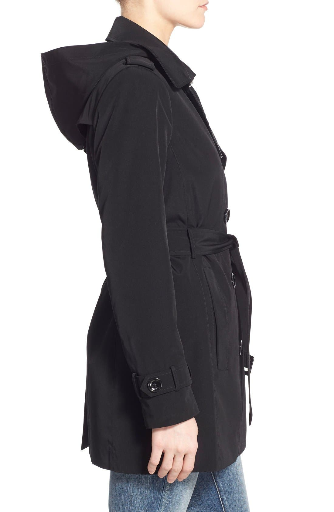 CALVIN KLEIN, Double Breasted Trench Coat, Alternate thumbnail 6, color, 001