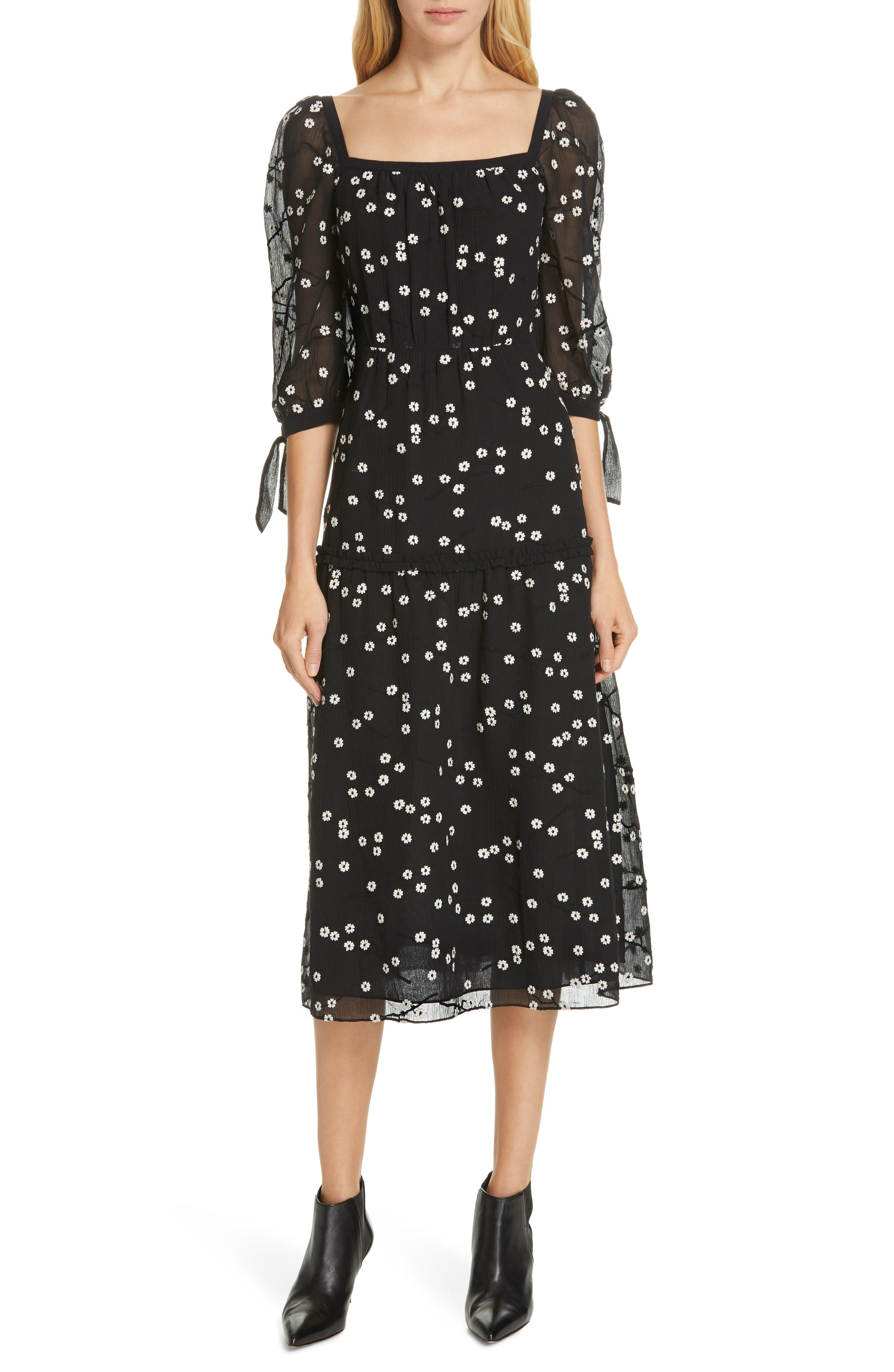 REBECCA TAYLOR, Allessandra Midi Dress, Main thumbnail 1, color, BLACK COMBO