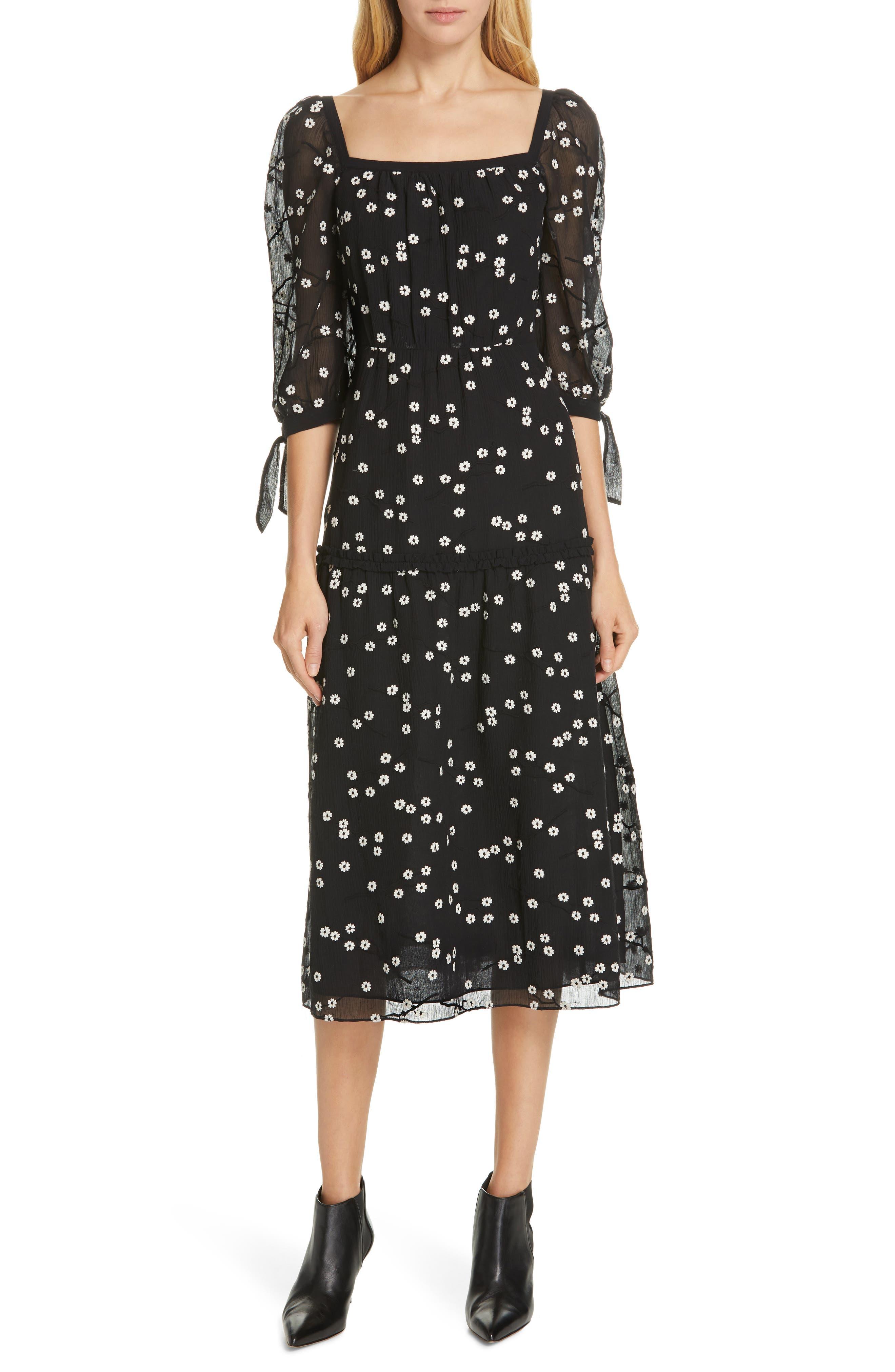REBECCA TAYLOR Allessandra Midi Dress, Main, color, BLACK COMBO