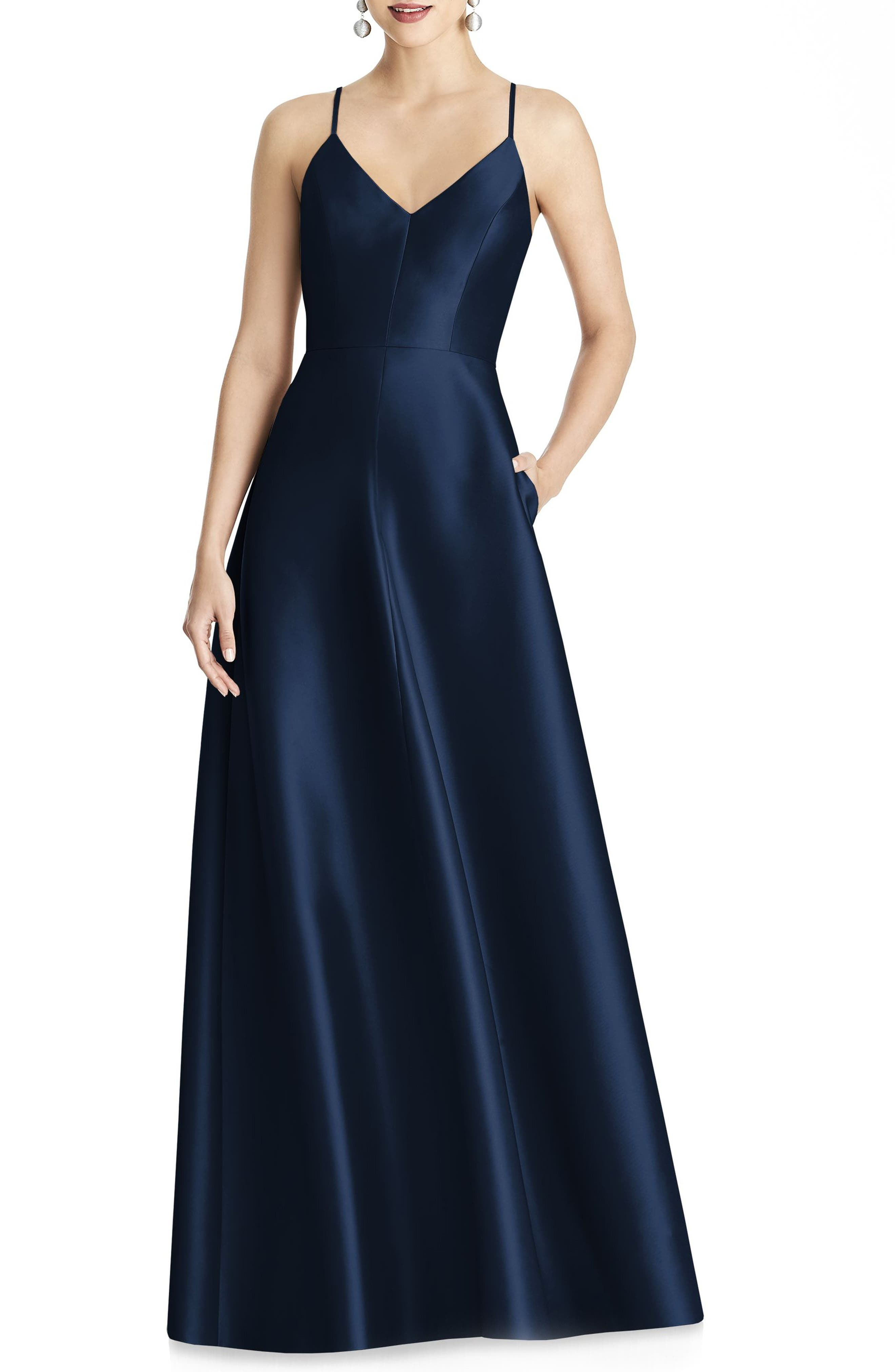 Alfred Sung Strappy Sateen A-Line Gown, Blue
