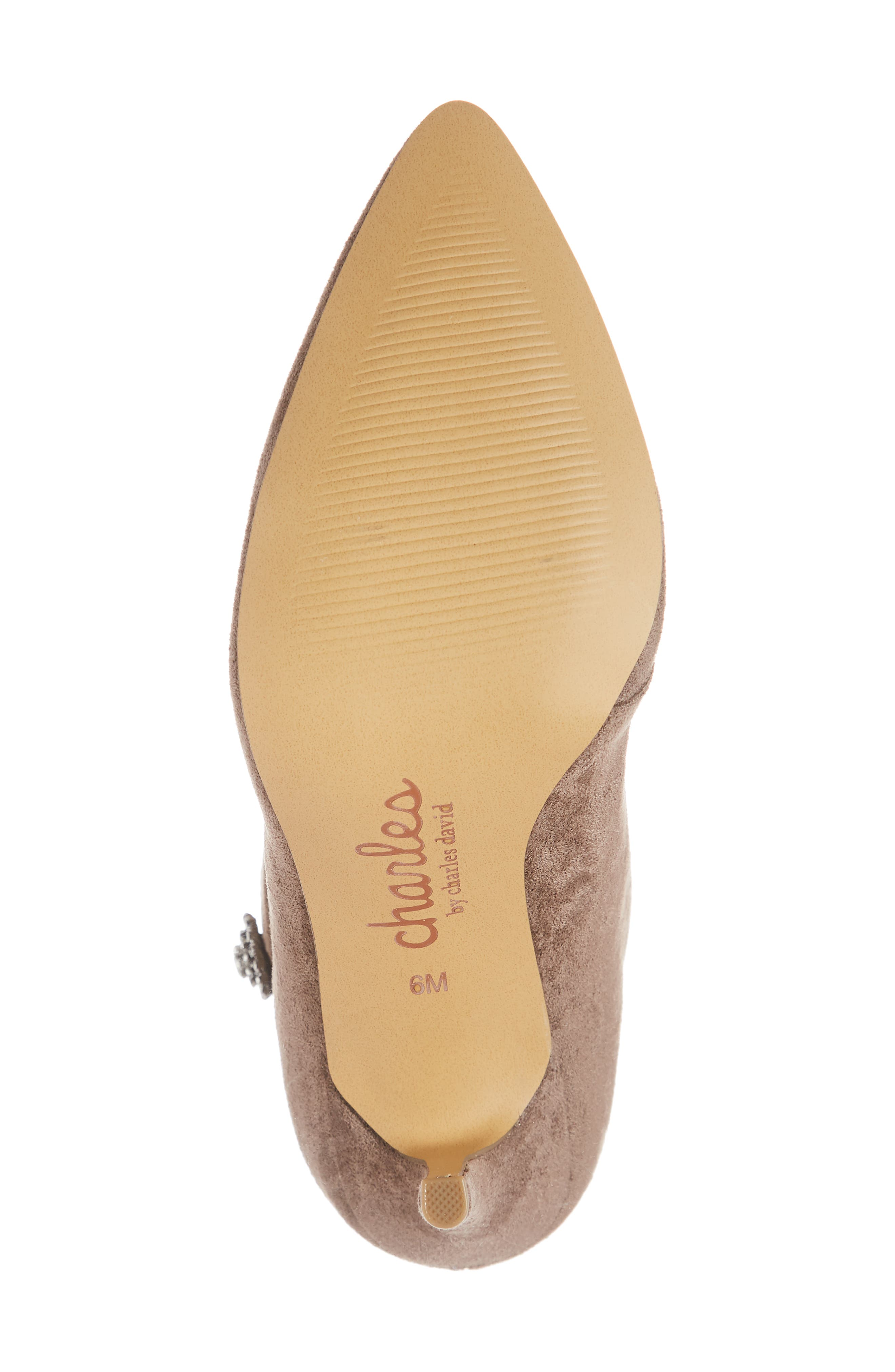 CHARLES BY CHARLES DAVID, Pistol Crystal Embellished Pointy Toe Bootie, Alternate thumbnail 6, color, TAUPE SUEDE