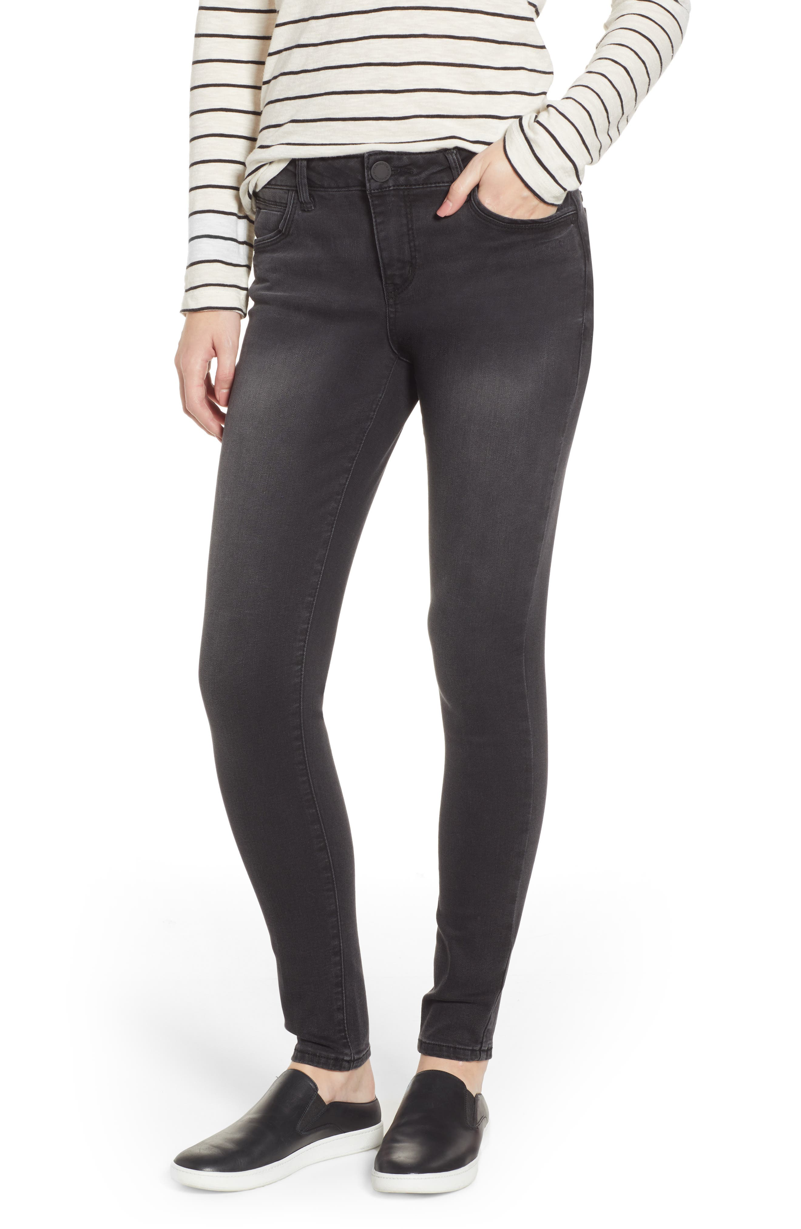 WIT & WISDOM Contemporary Skinny Jeans, Main, color, BLACK