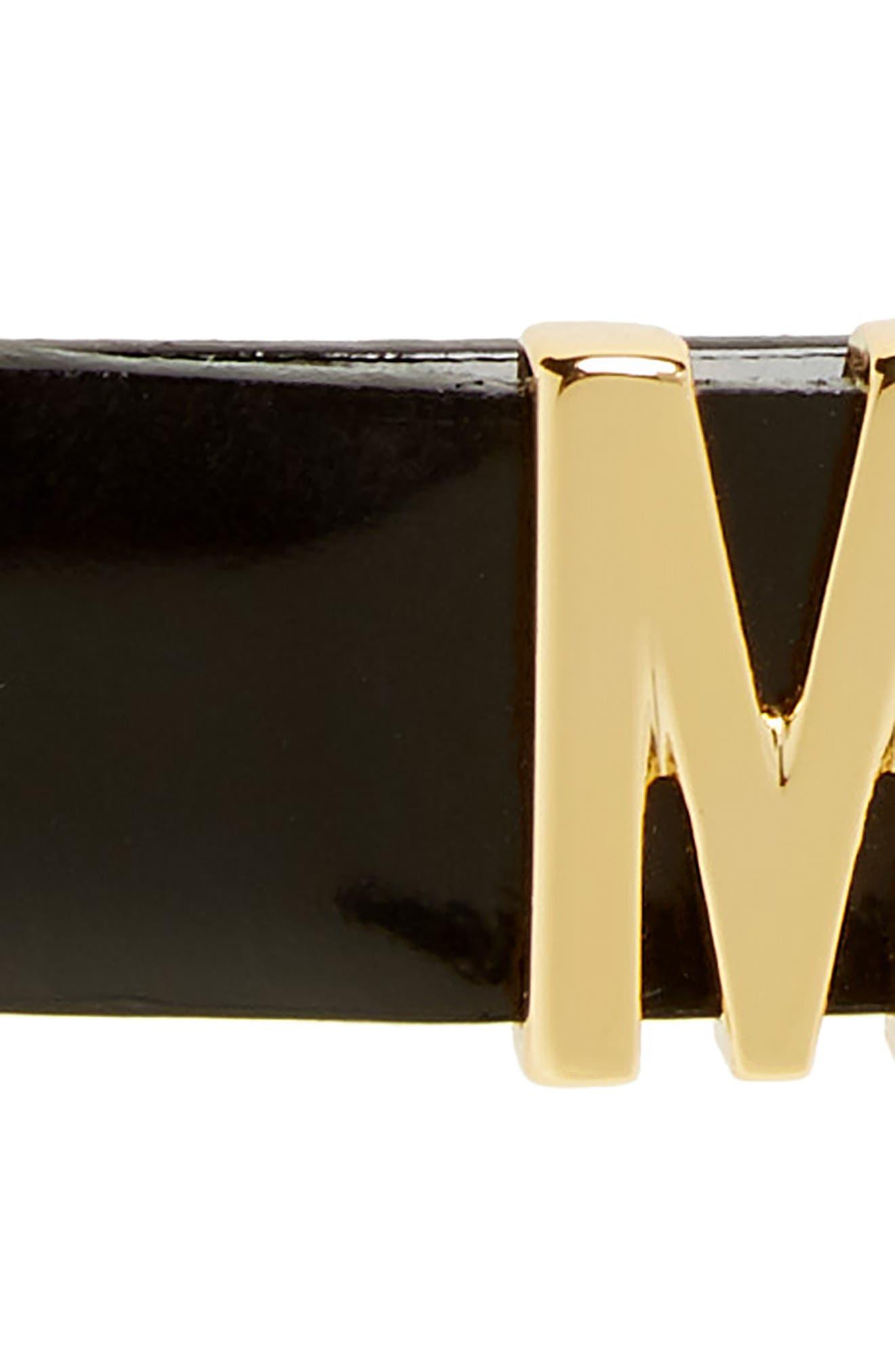 MOSCHINO, Logo Leather Belt, Alternate thumbnail 3, color, BLACK