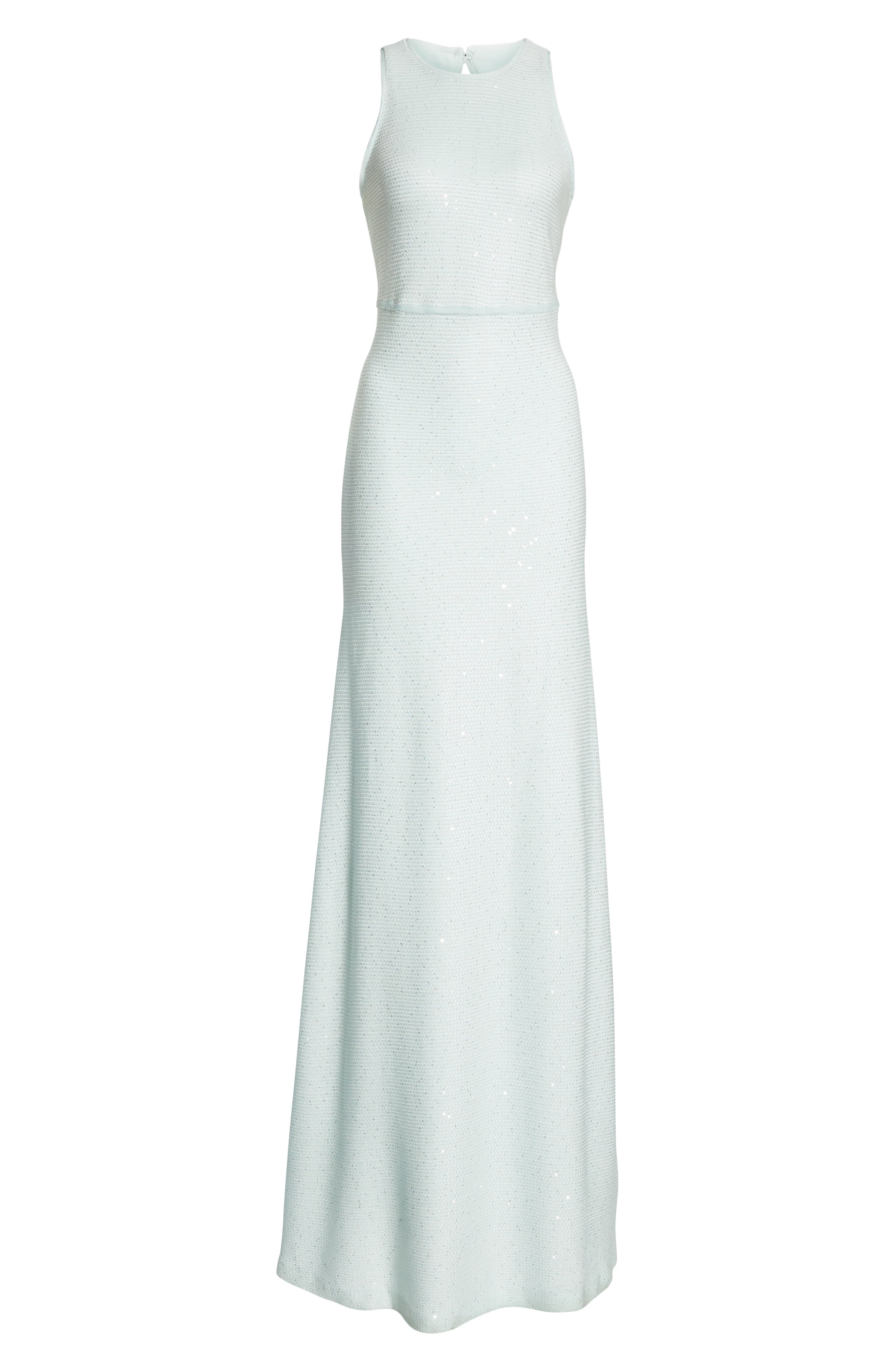 ST. JOHN COLLECTION, Links Sequin Knit Gown, Alternate thumbnail 6, color, OPAL