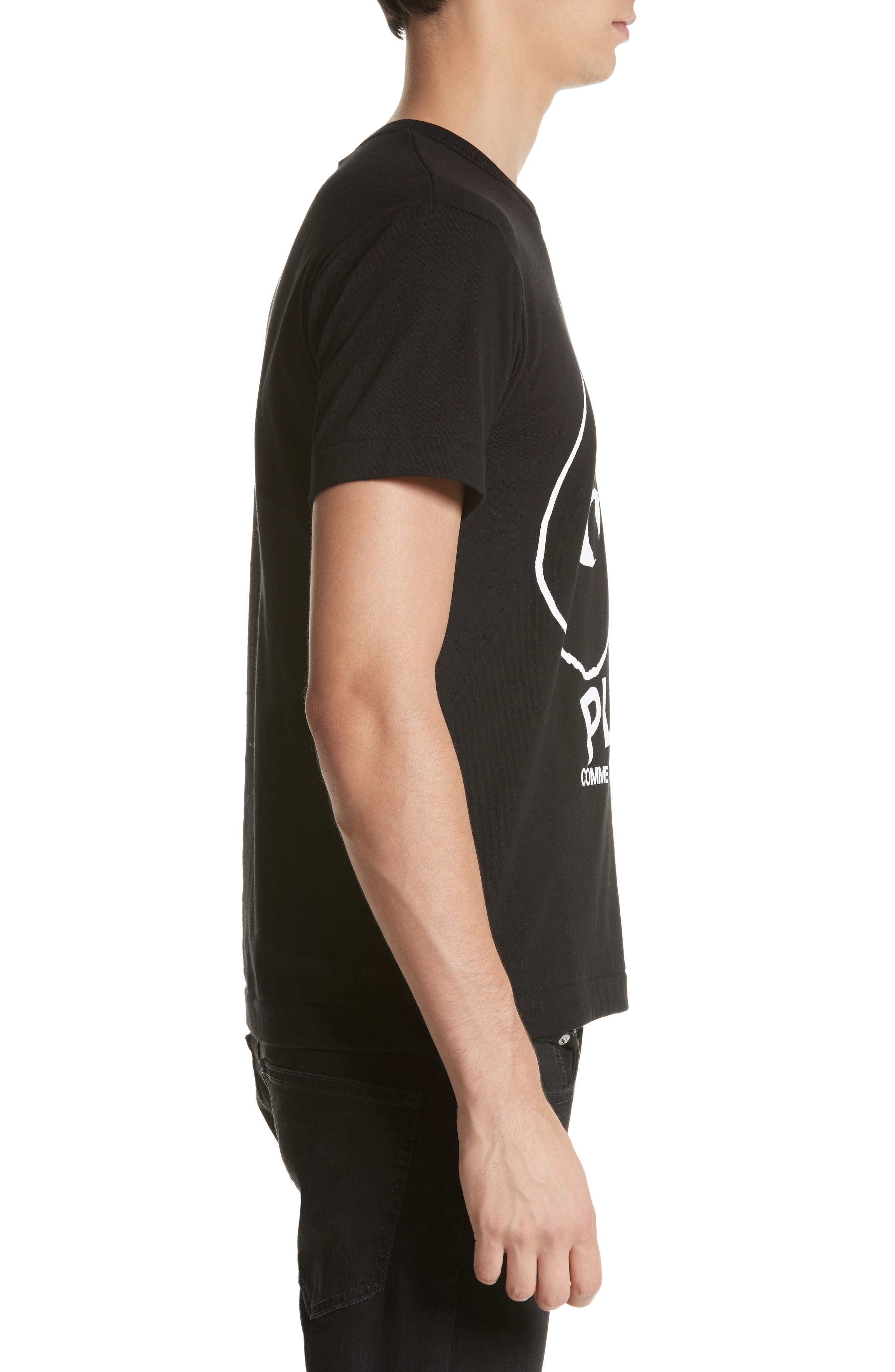 COMME DES GARÇONS PLAY, Inverted Heart Logo T-Shirt, Alternate thumbnail 3, color, BLACK