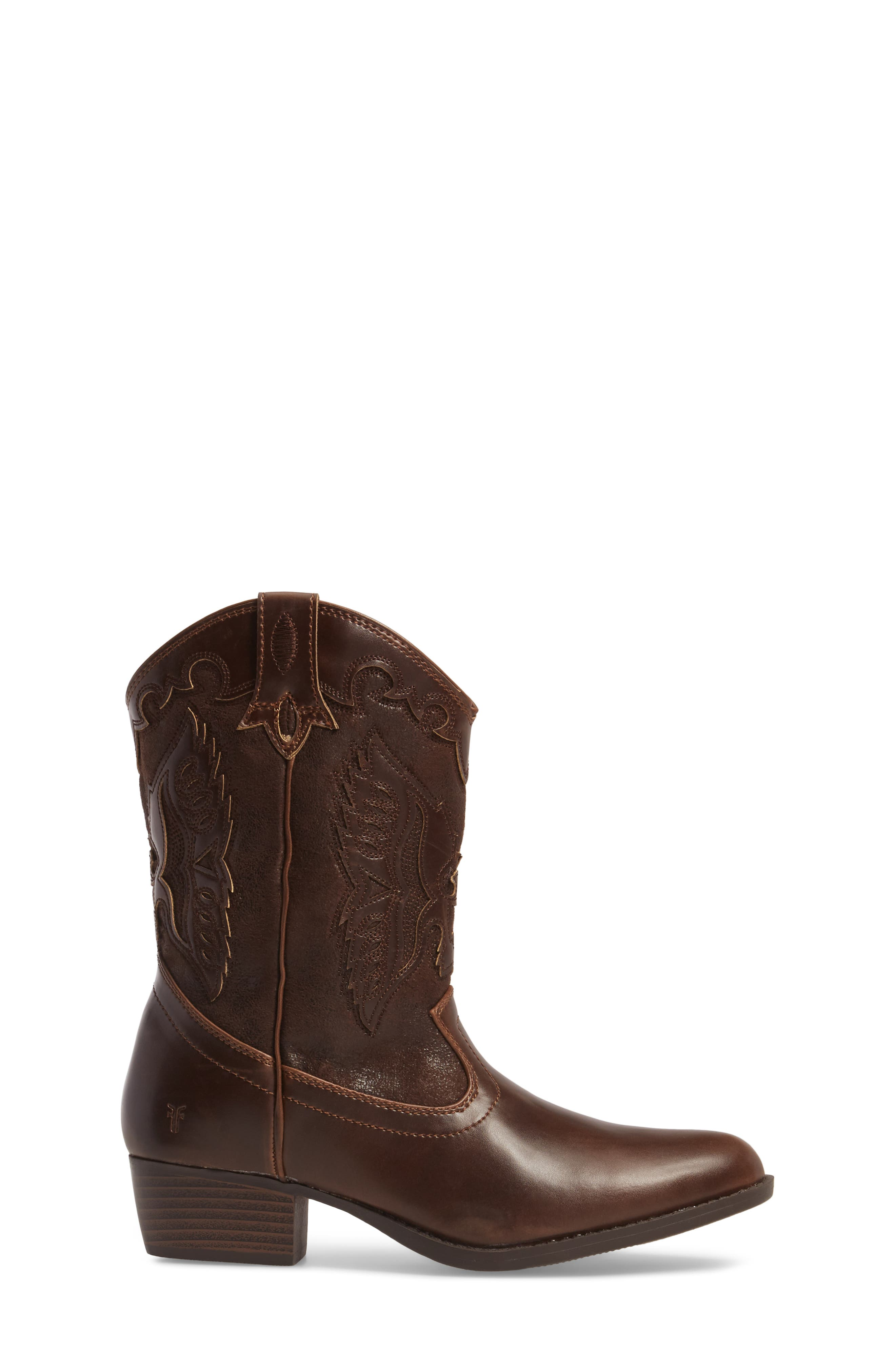 FRYE, Carson Firebird Cowgirl Boot, Alternate thumbnail 3, color, BROWN
