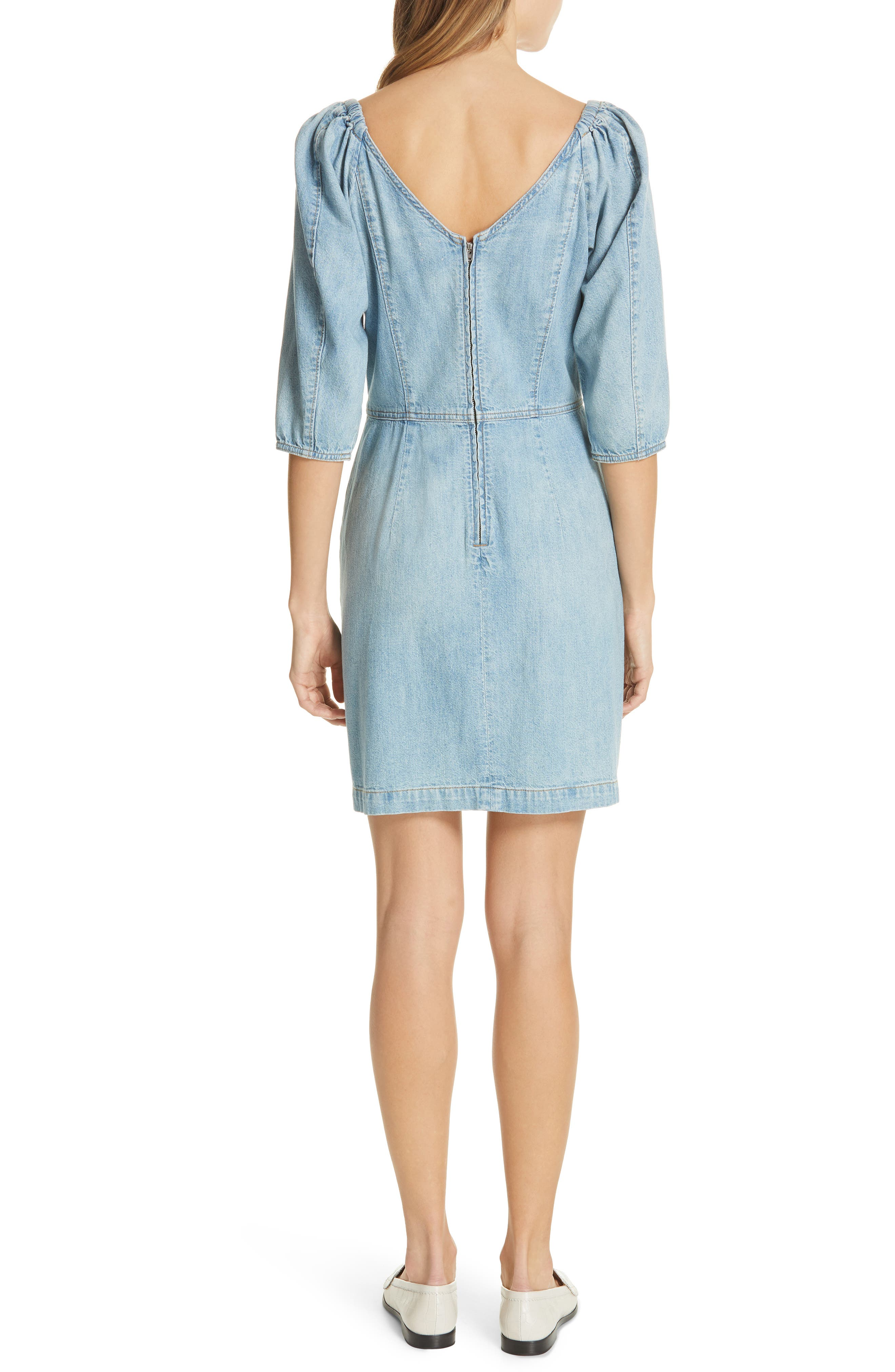 LA VIE REBECCA TAYLOR, Tie Neck Denim Dress, Alternate thumbnail 2, color, FORGET ME NOT WASH