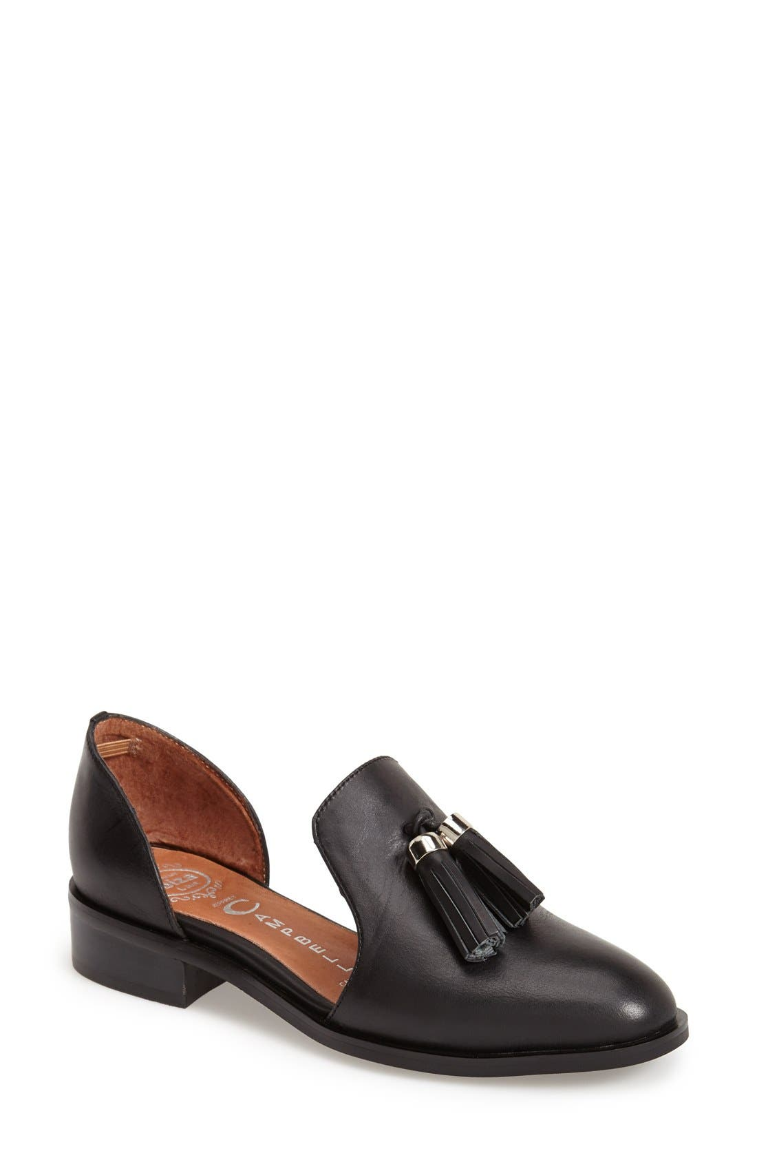 JEFFREY CAMPBELL, 'Open Case' Tasseled Leather Flat, Main thumbnail 1, color, 001