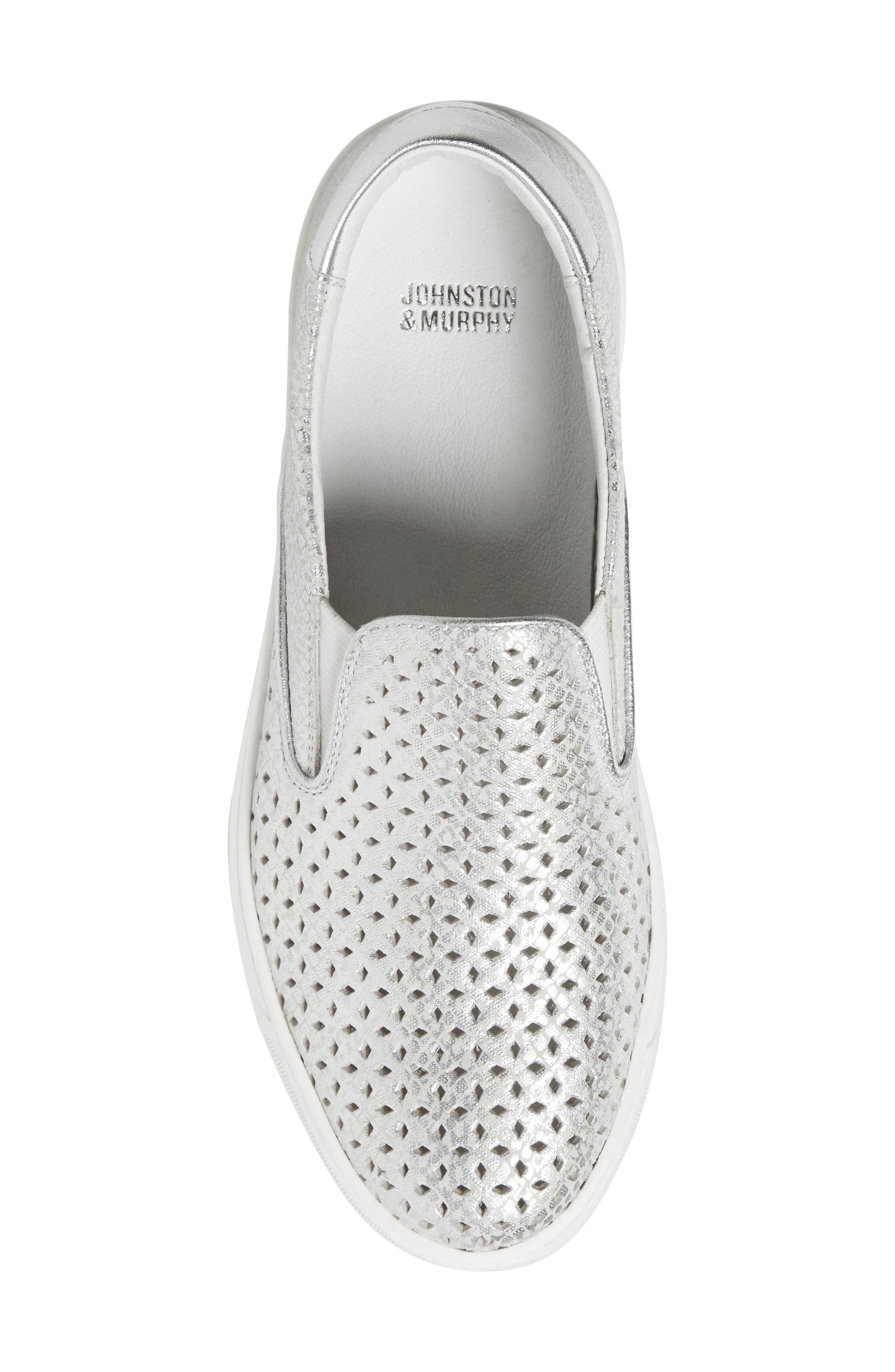 JOHNSTON & MURPHY, Elaine Slip-On Sneaker, Alternate thumbnail 5, color, SILVER SNAKE PRINT LEATHER
