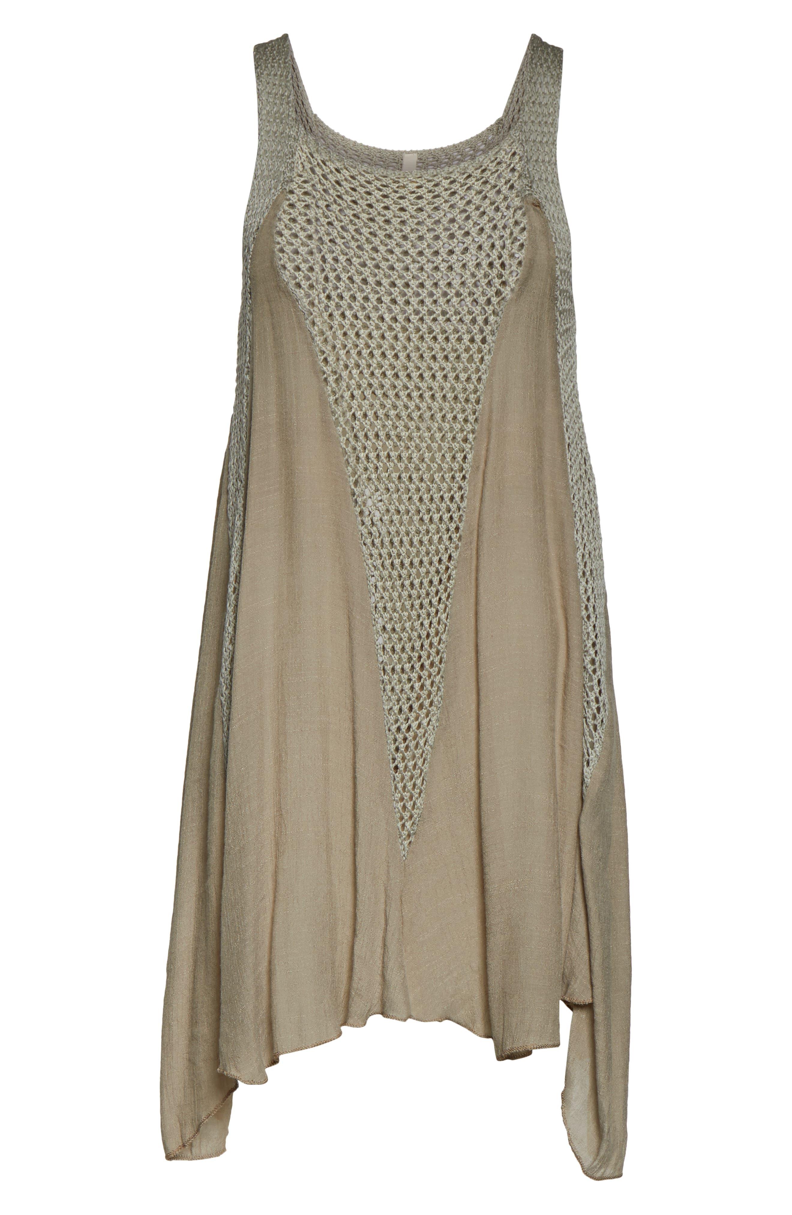 ELAN, Crochet Inset Cover-Up Dress, Alternate thumbnail 7, color, SAGE