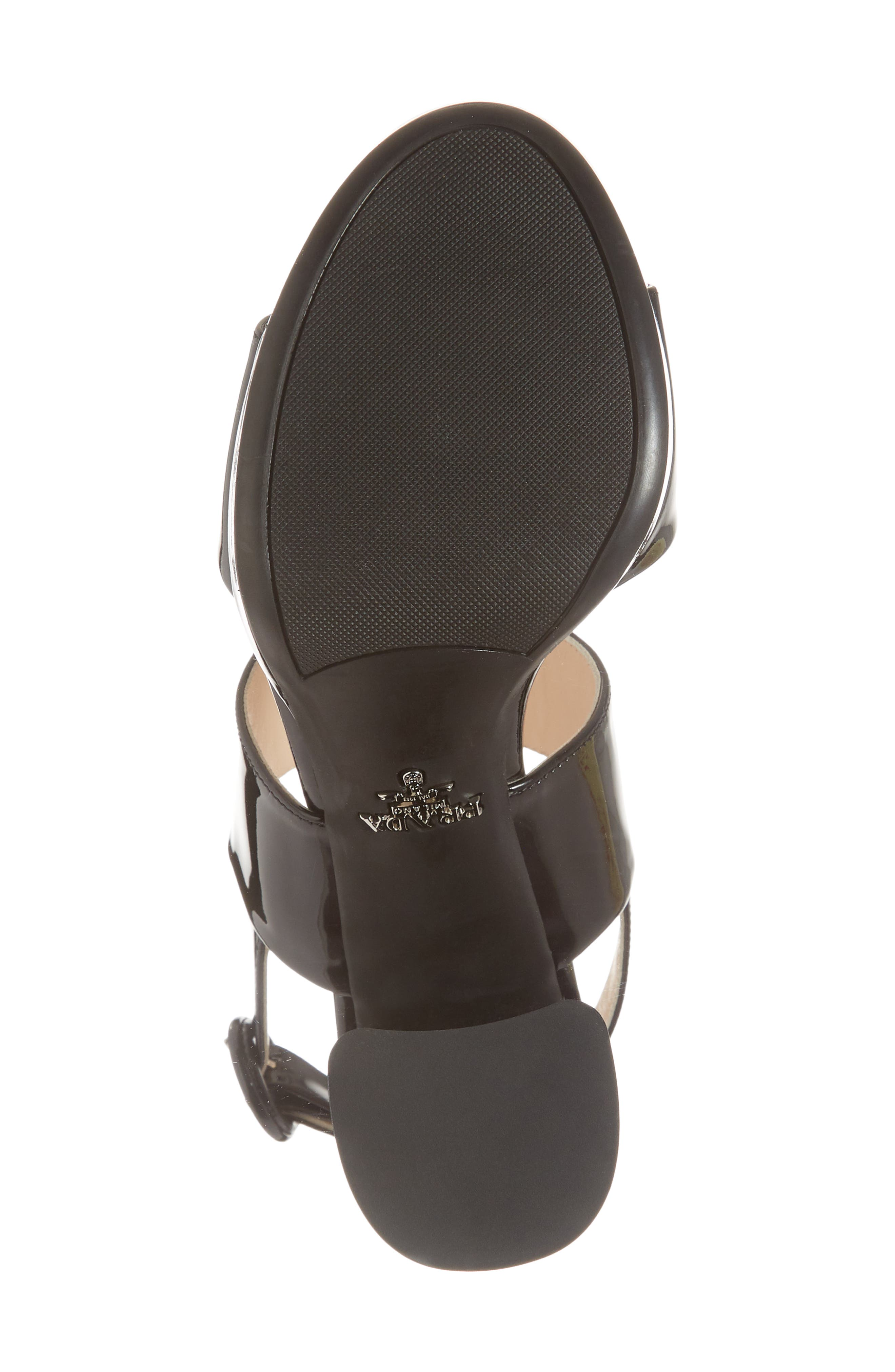 PRADA, Slingback Platform Sandal, Alternate thumbnail 6, color, BLACK PATENT