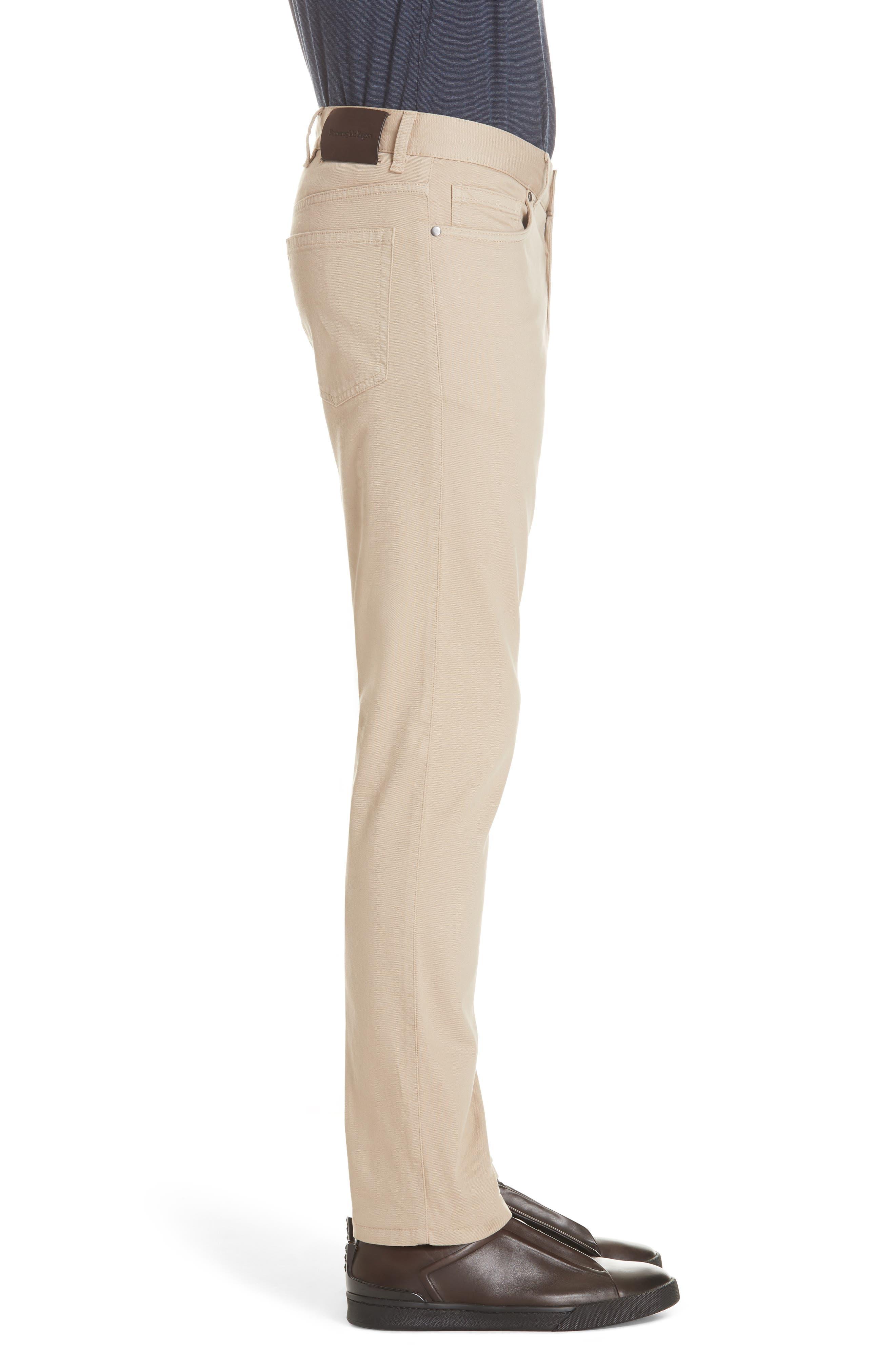 ERMENEGILDO ZEGNA, Stretch Cotton Five Pocket Pants, Alternate thumbnail 4, color, LIGHT BEIGE