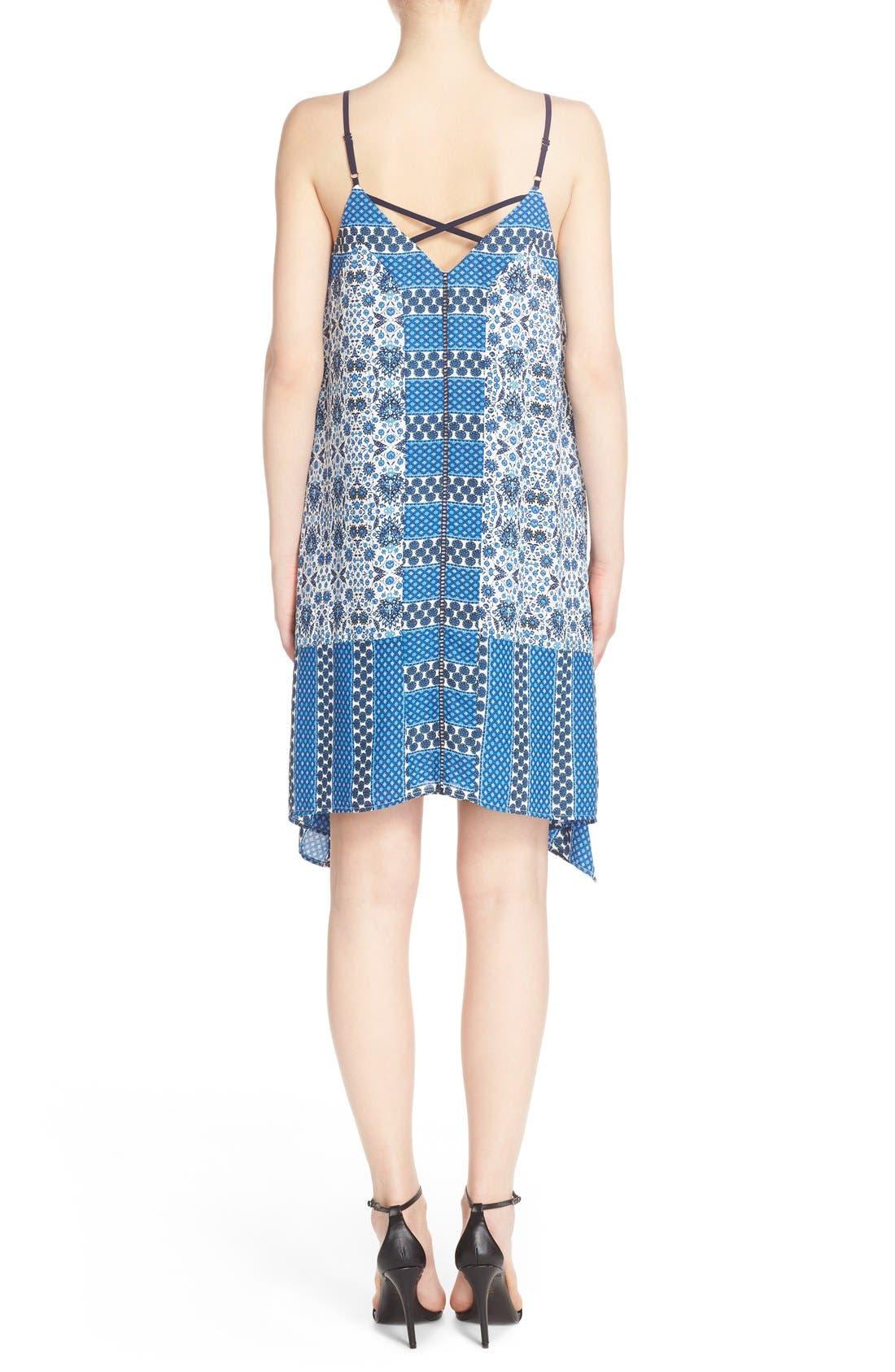 ADELYN RAE, Scarf Print Crepe Trapeze Dress, Alternate thumbnail 5, color, 400