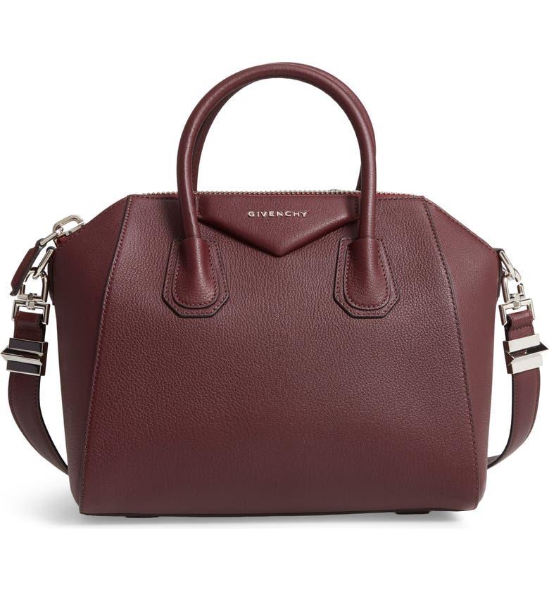 64923de5ad Givenchy Antigona Small Sugar Goatskin Satchel Bag, Oxblood In Red
