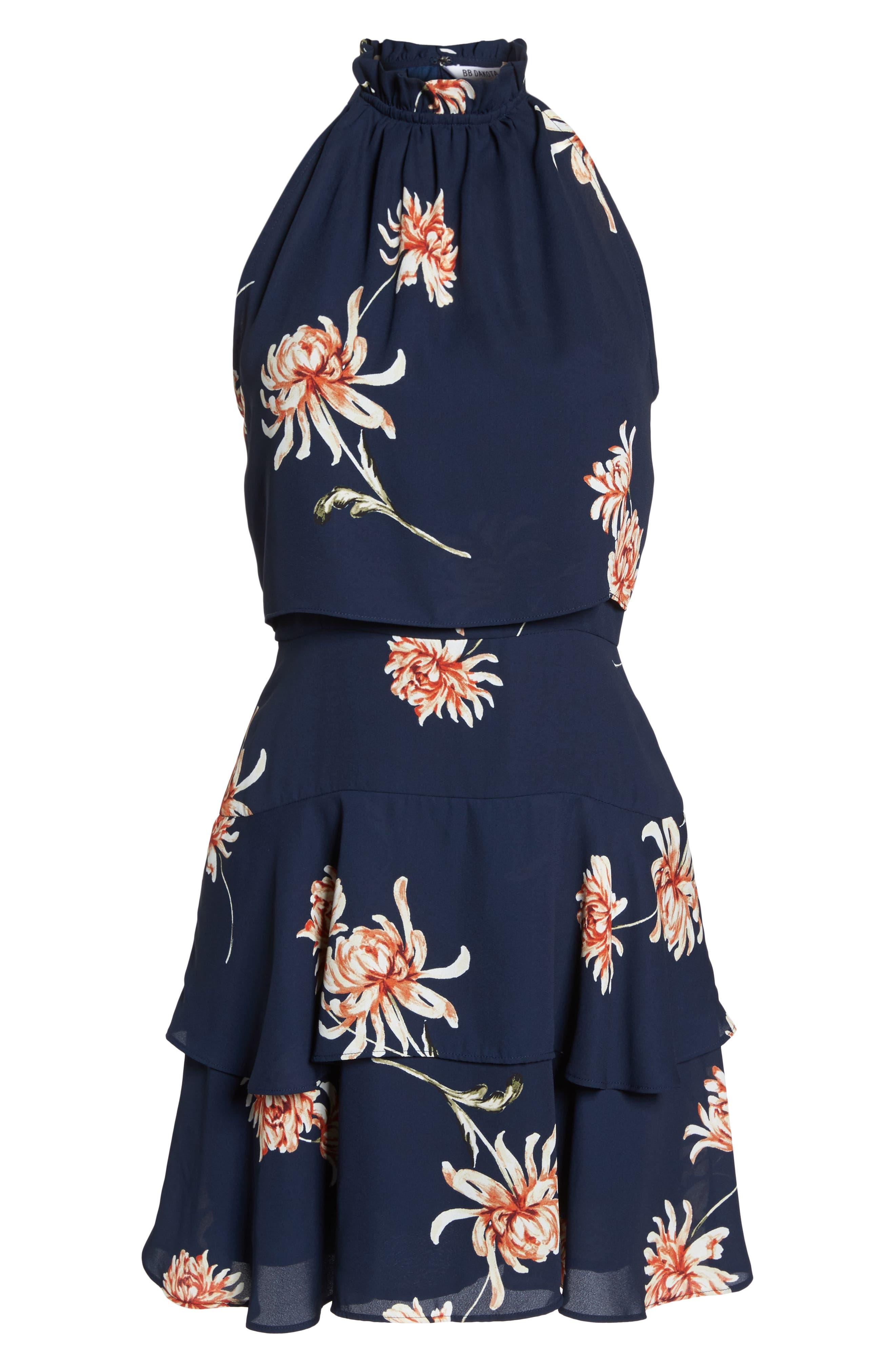 BB DAKOTA, Garden Variety Halter Neck Dress, Alternate thumbnail 7, color, OIL SLICK