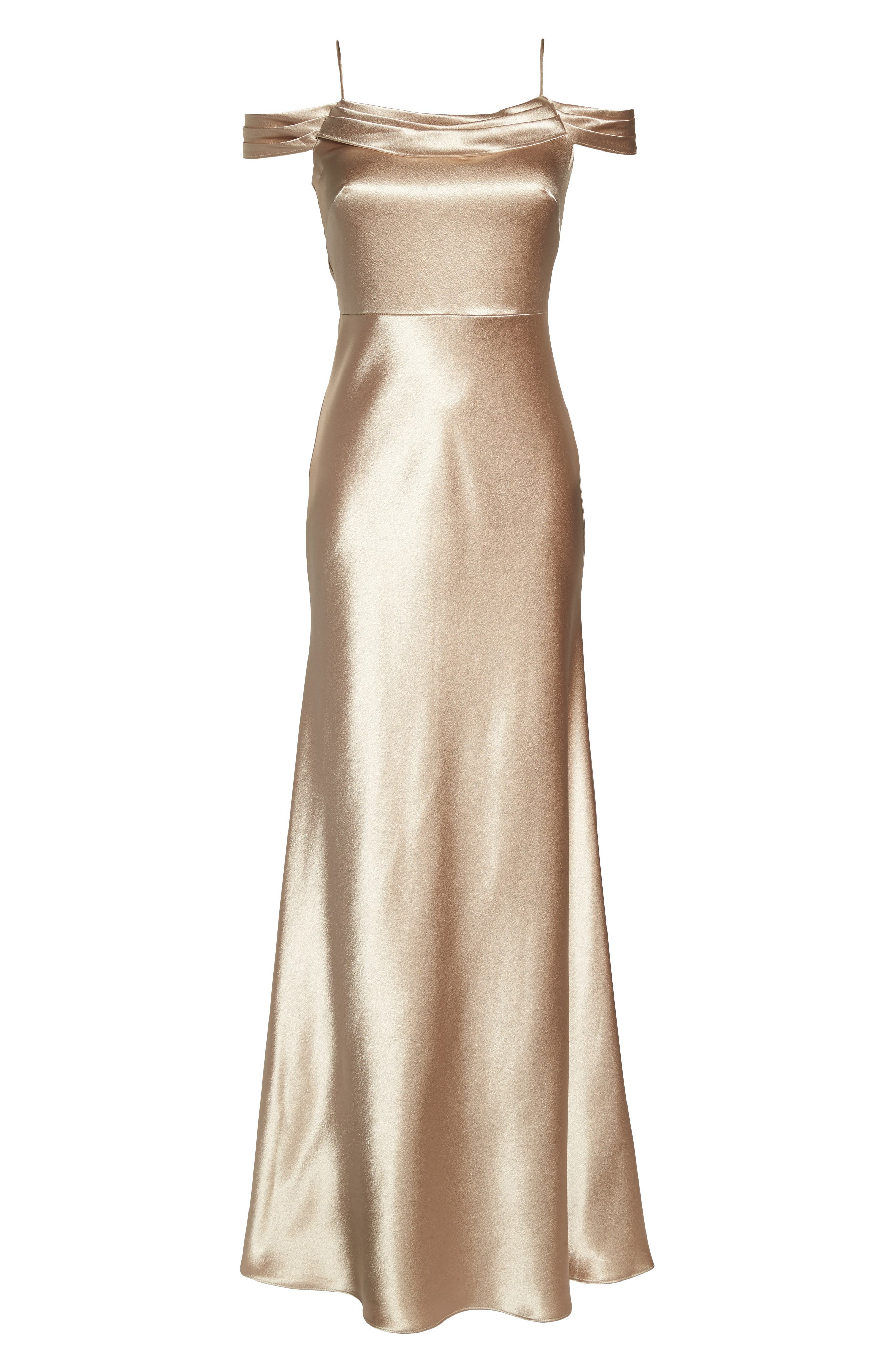 JENNY YOO, Serene Satin Off the Shoulder Gown, Alternate thumbnail 6, color, LATTE