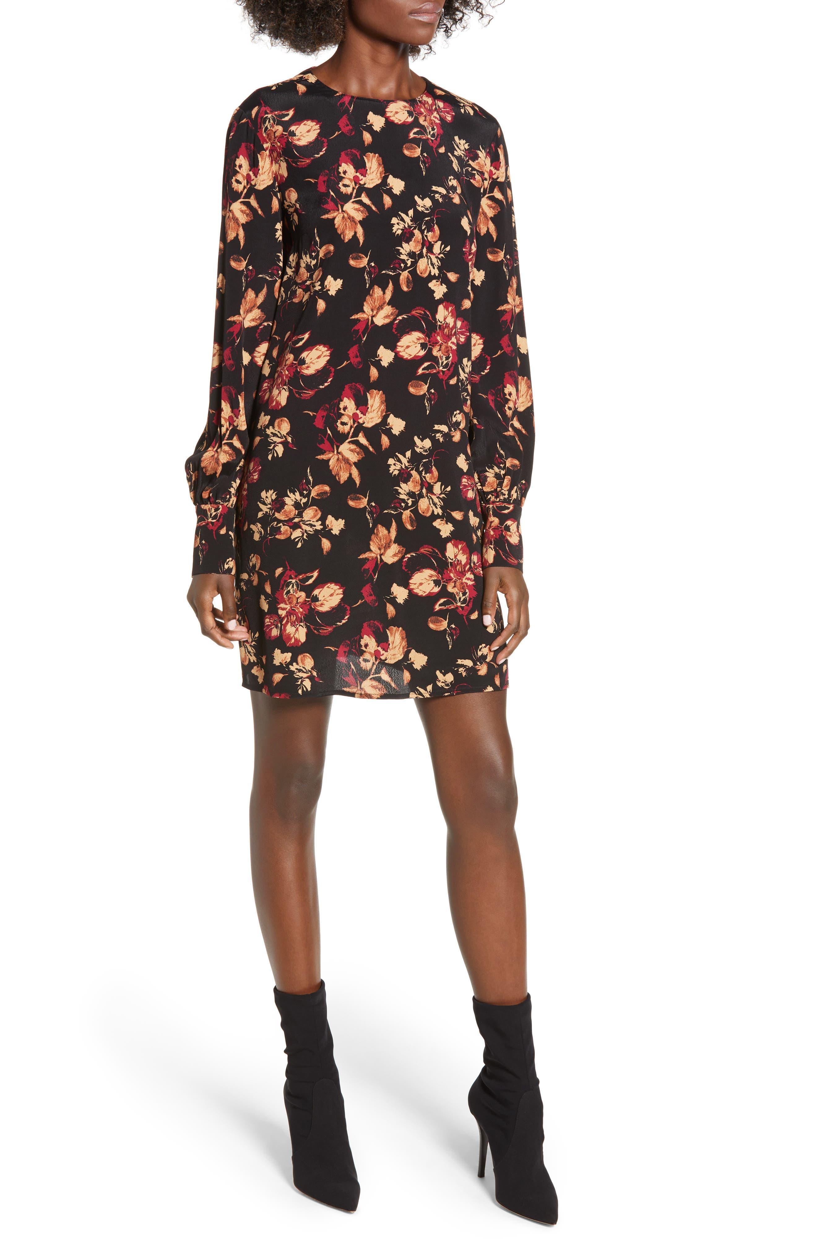 LEITH, Long Sleeved Shirred Cuff Dress, Main thumbnail 1, color, 001