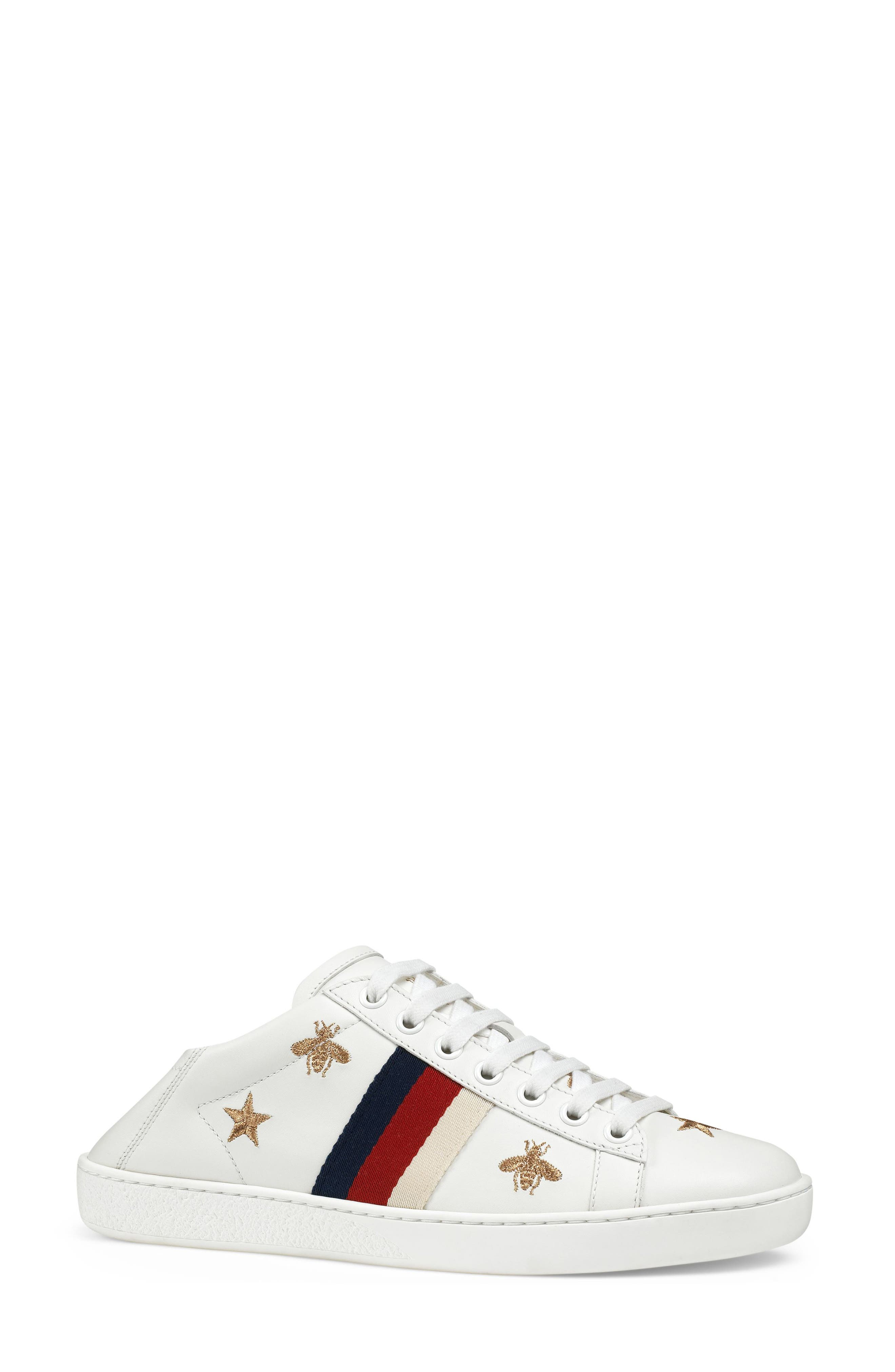 GUCCI, New Ace Convertible Heel Sneaker, Alternate thumbnail 2, color, WHITE/ BEE PRINT