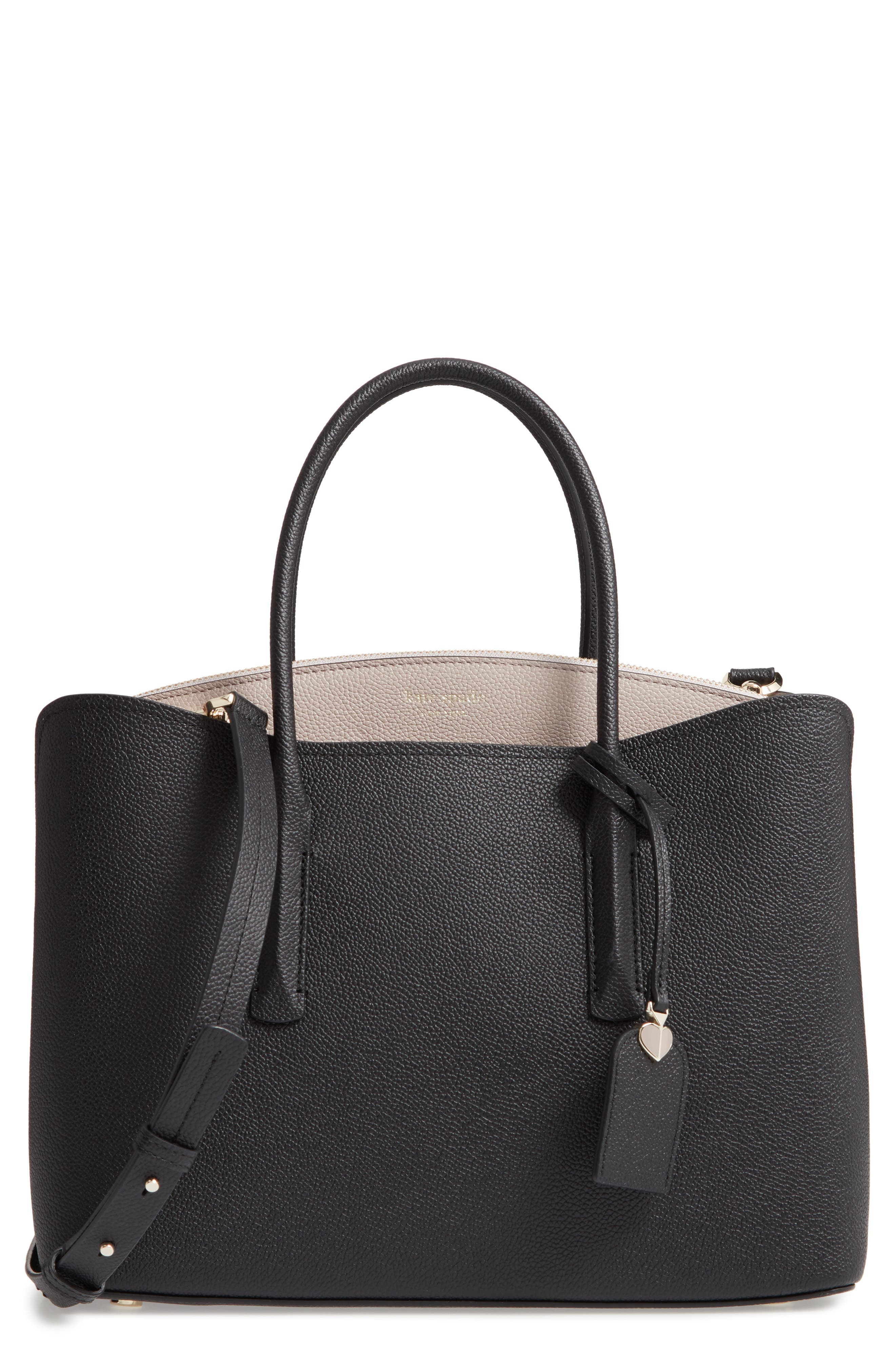 KATE SPADE NEW YORK large margaux leather satchel, Main, color, BLACK/ WARM TAUPE