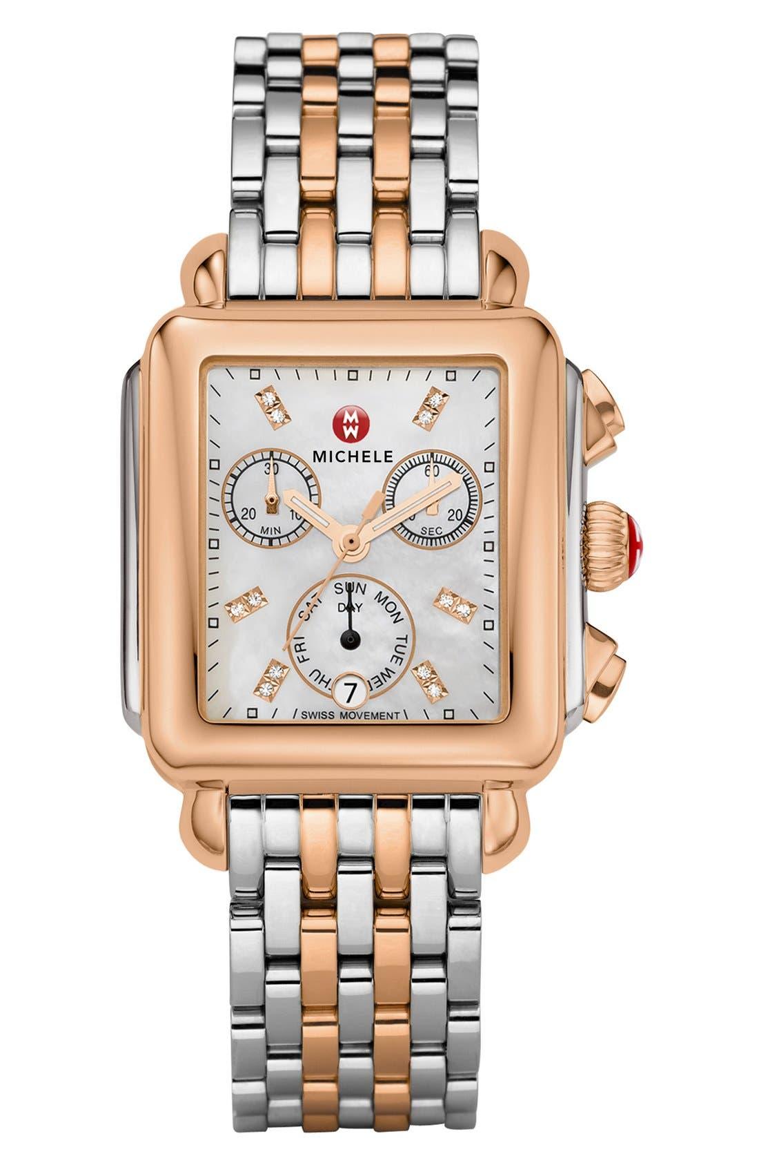 MICHELE, Deco 18mm Bracelet Watchband, Alternate thumbnail 4, color, SILVER/ ROSE GOLD
