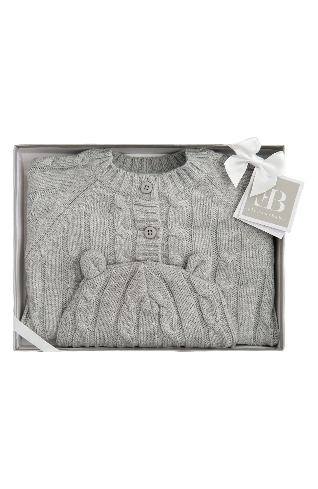 ELEGANT BABY, Cable Knit Sweater & Hat Set, Alternate thumbnail 2, color, GRAY