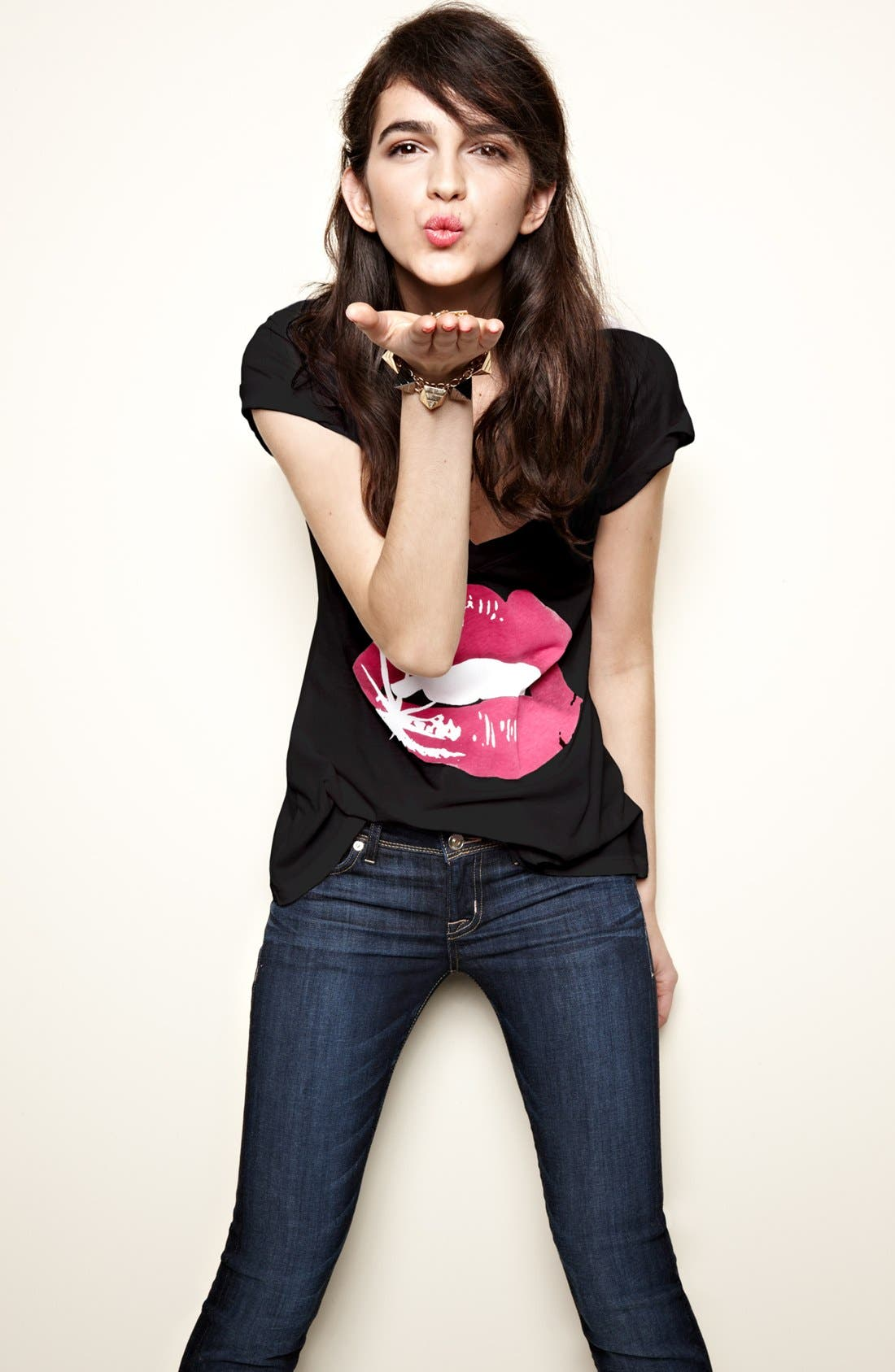 WILDFOX, 'Glamour Puss' Tee, Alternate thumbnail 4, color, 002