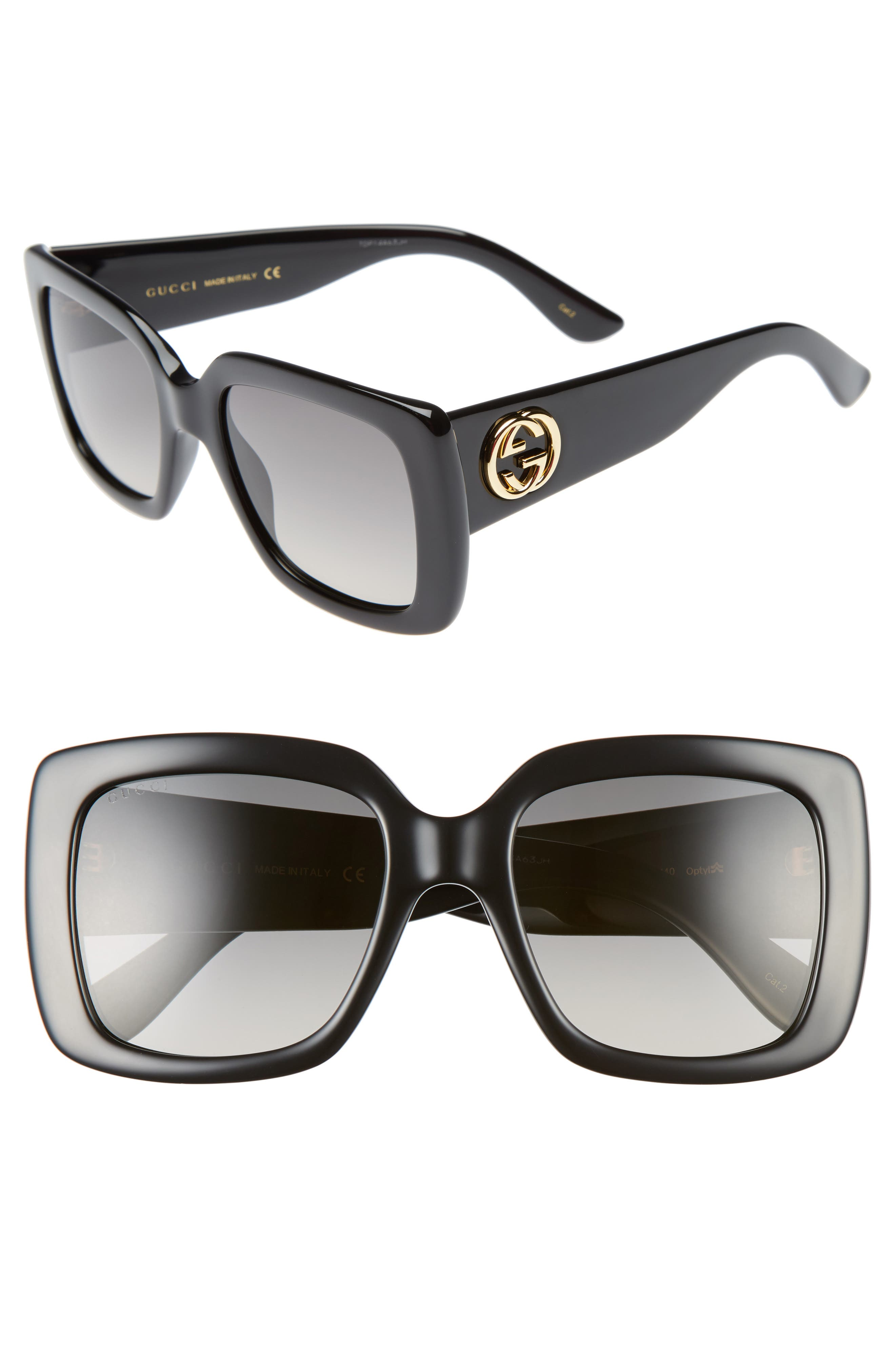 GUCCI, 53mm Square Sunglasses, Main thumbnail 1, color, BLACK/ GREY