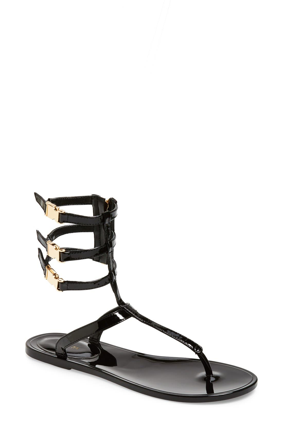 RACHEL ZOE, 'Cecille' Leather Ankle Strap Sandal, Main thumbnail 1, color, 001