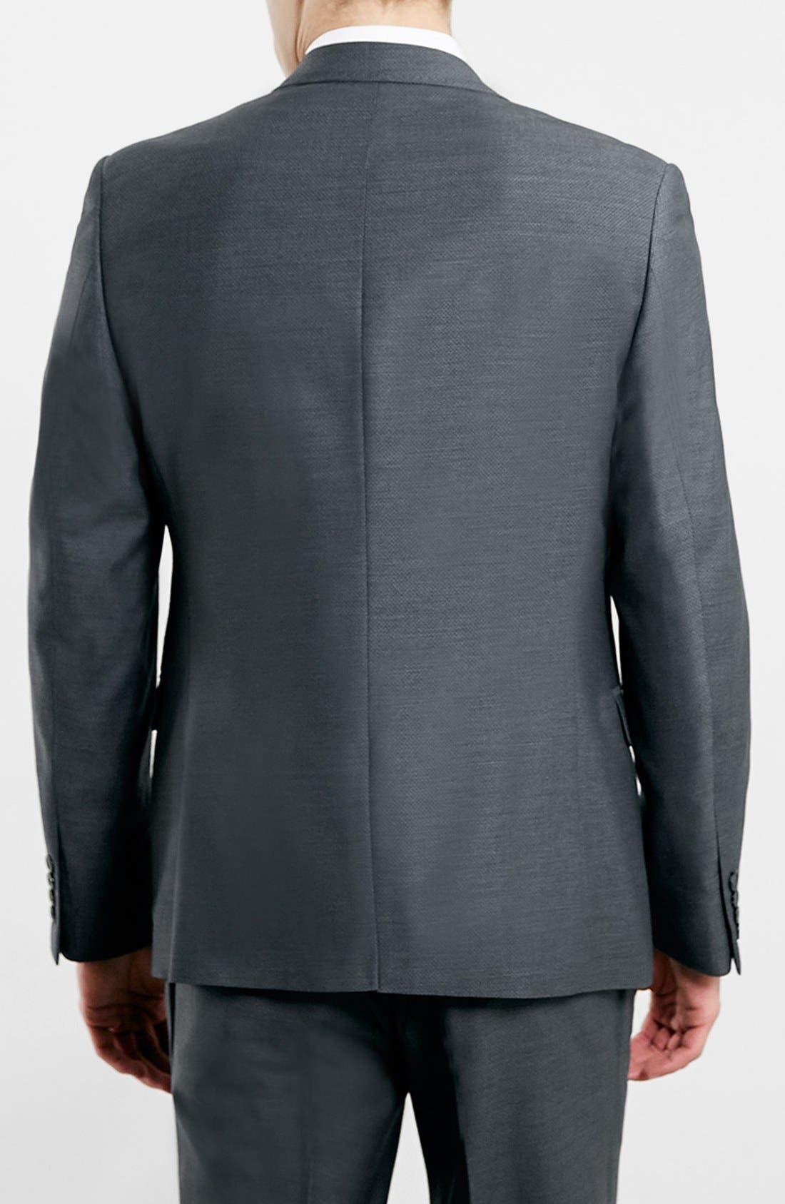 TOPMAN, Slim Fit Grey Diamond Texture Suit Jacket, Alternate thumbnail 3, color, 020