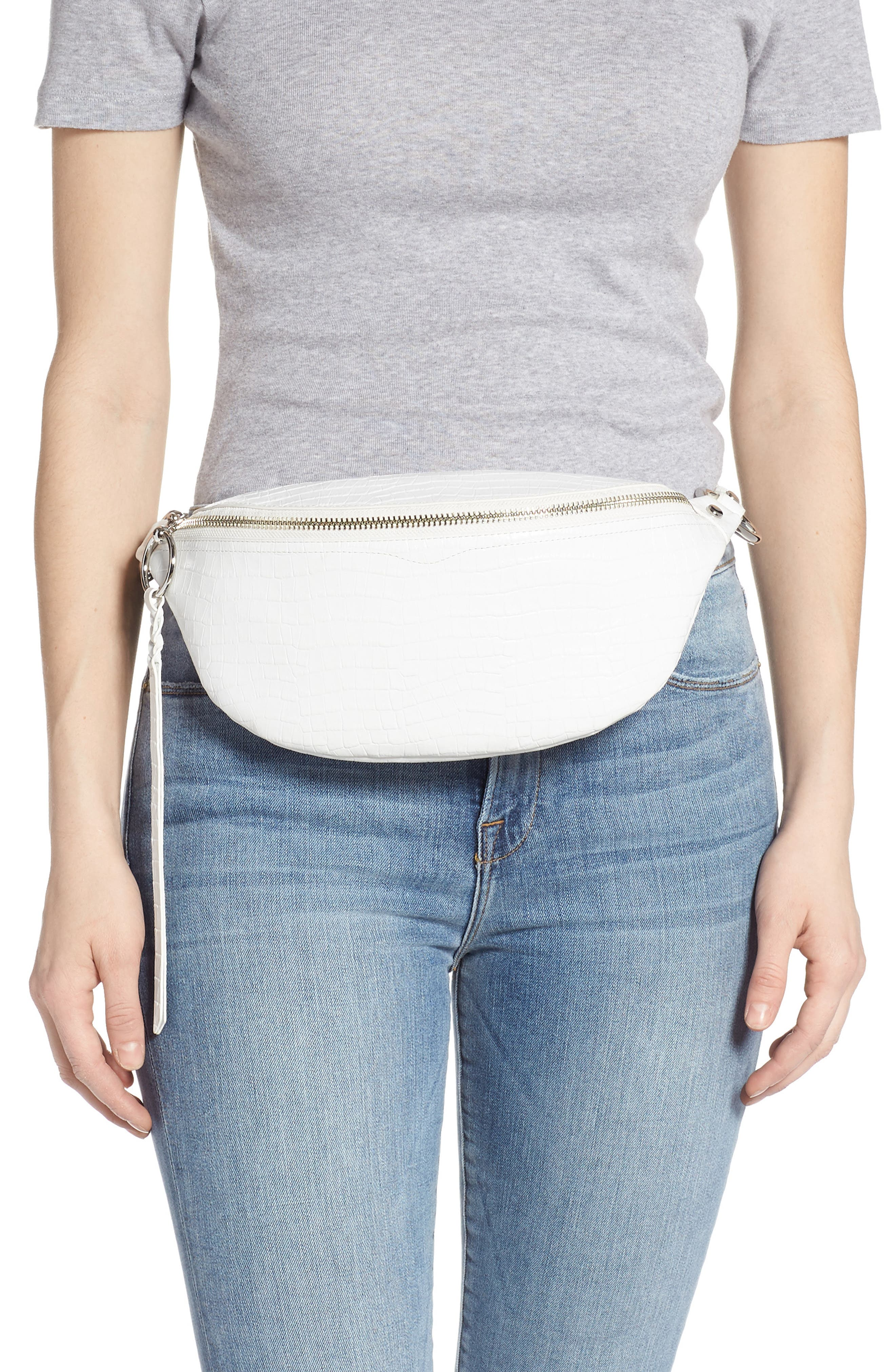 REBECCA MINKOFF, Bree Croc Embossed Leather Belt Bag, Alternate thumbnail 2, color, OPTIC WHITE