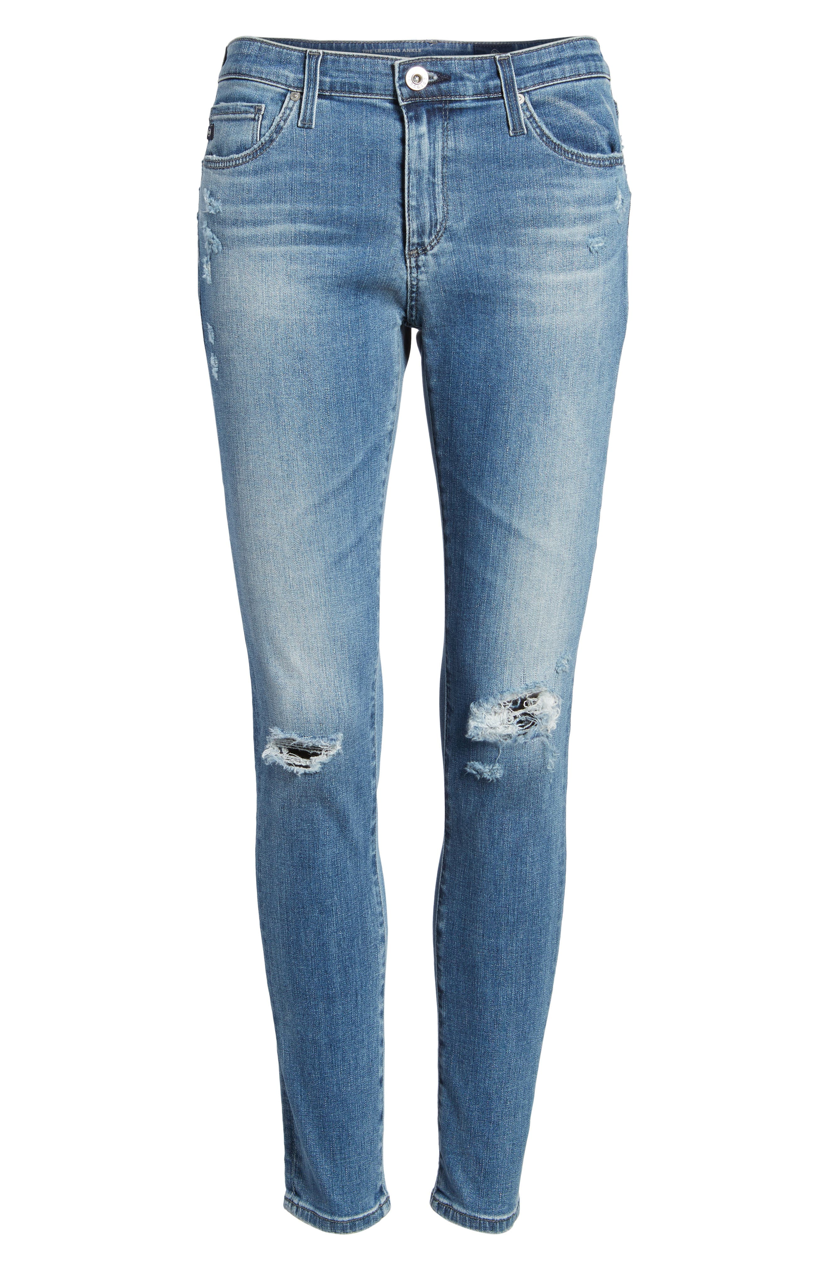AG, The Legging Ankle Jeans, Alternate thumbnail 7, color, SEA SPRITE DESTRUCTED