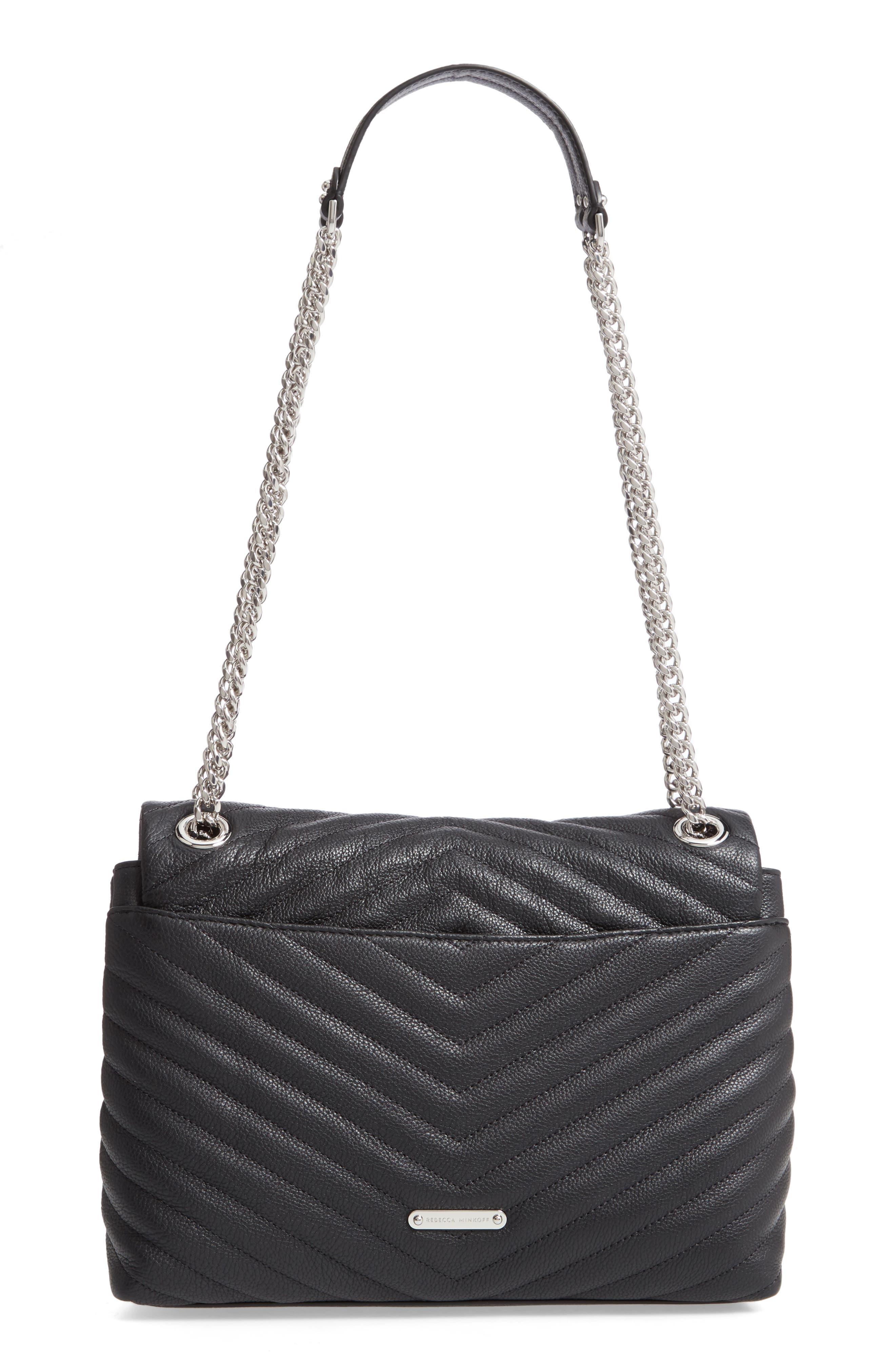 REBECCA MINKOFF, Edie Flap Quilted Leather Shoulder Bag, Alternate thumbnail 4, color, BLACK