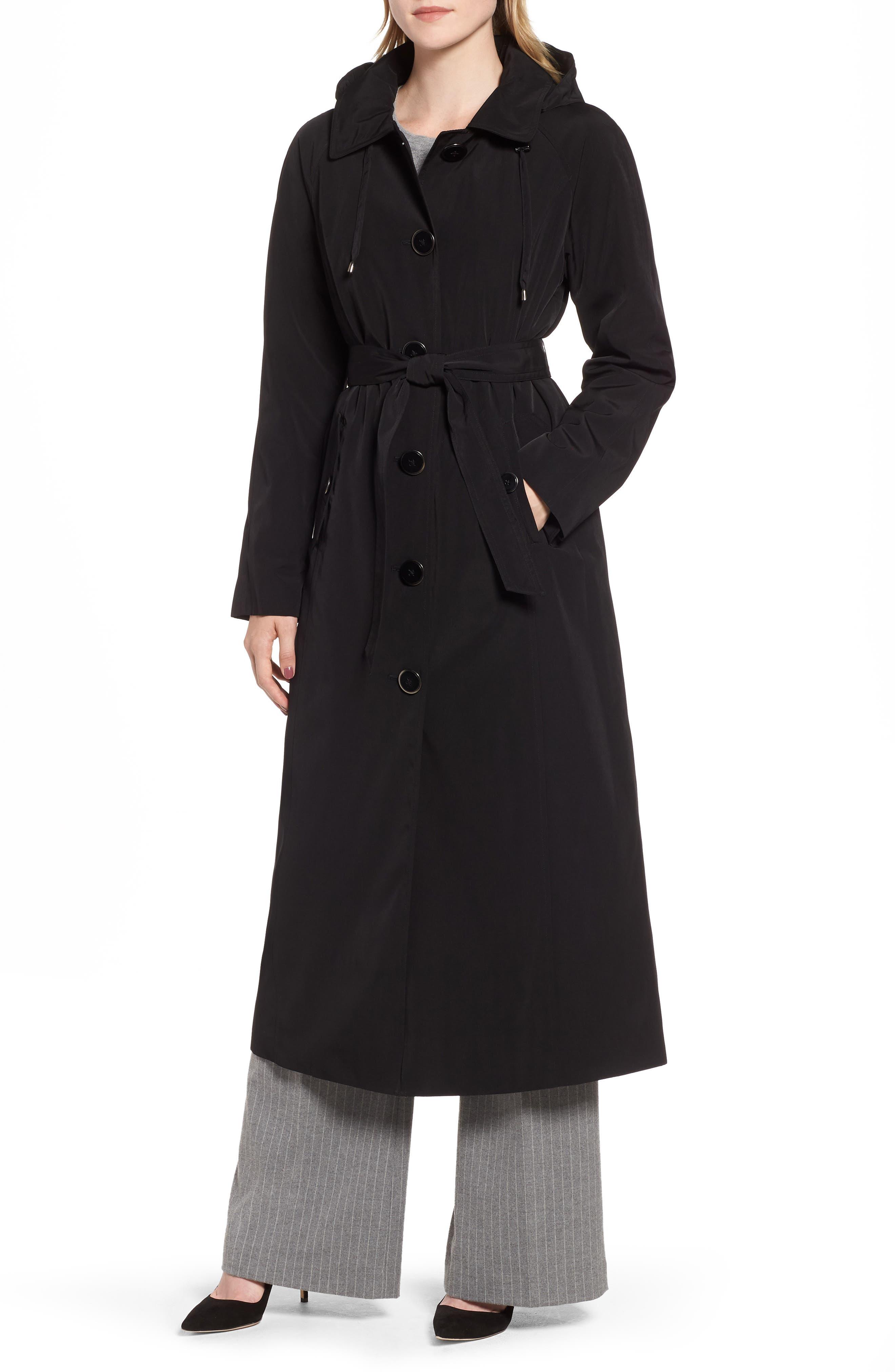 LONDON FOG, Long Trench Coat with Detachable Hood & Liner, Main thumbnail 1, color, BLACK