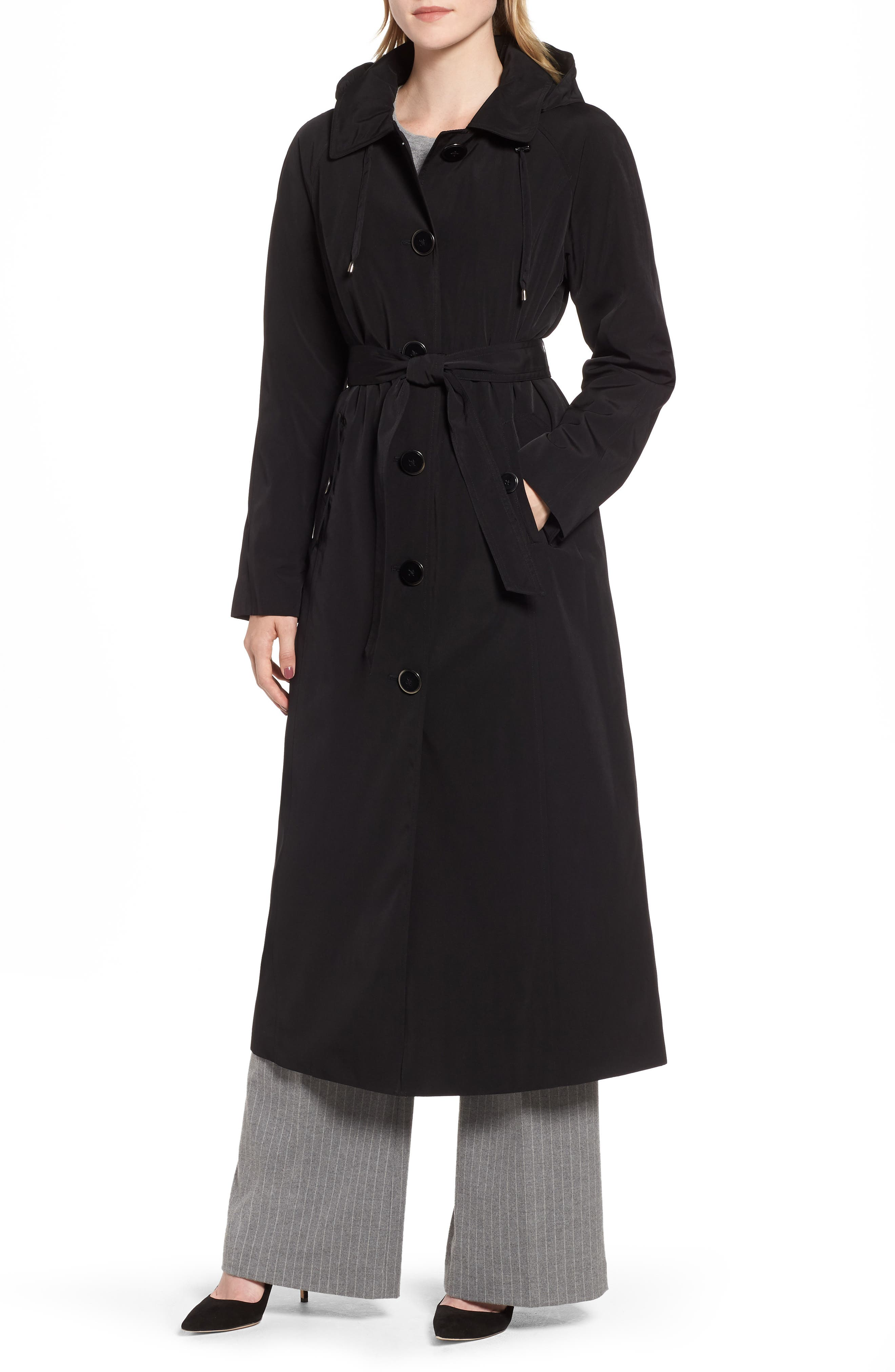 LONDON FOG Long Trench Coat with Detachable Hood & Liner, Main, color, BLACK