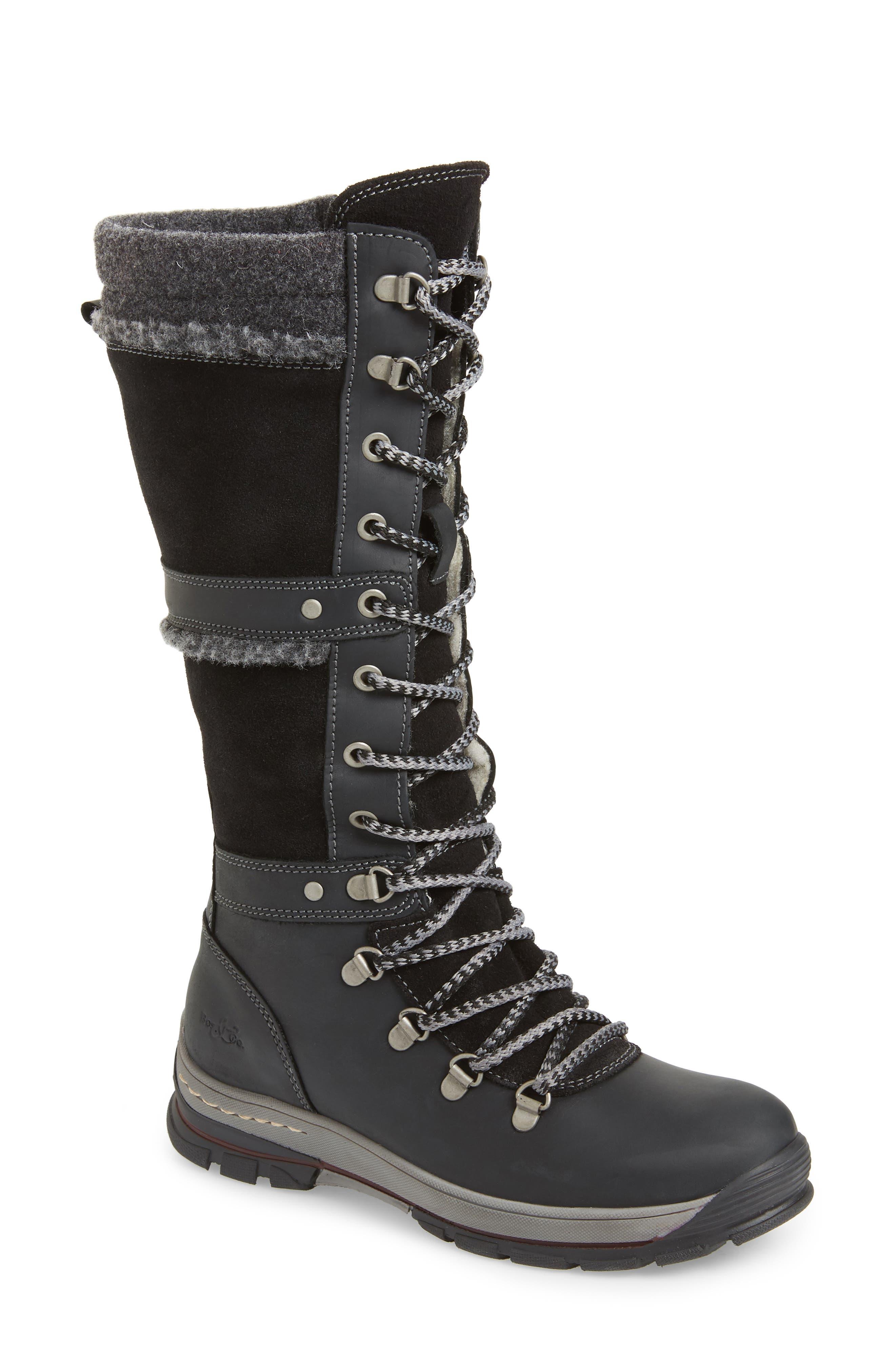BOS. & CO. Gabriella Waterproof Boot, Main, color, BLACK/ DARK GREY CROMAGNON